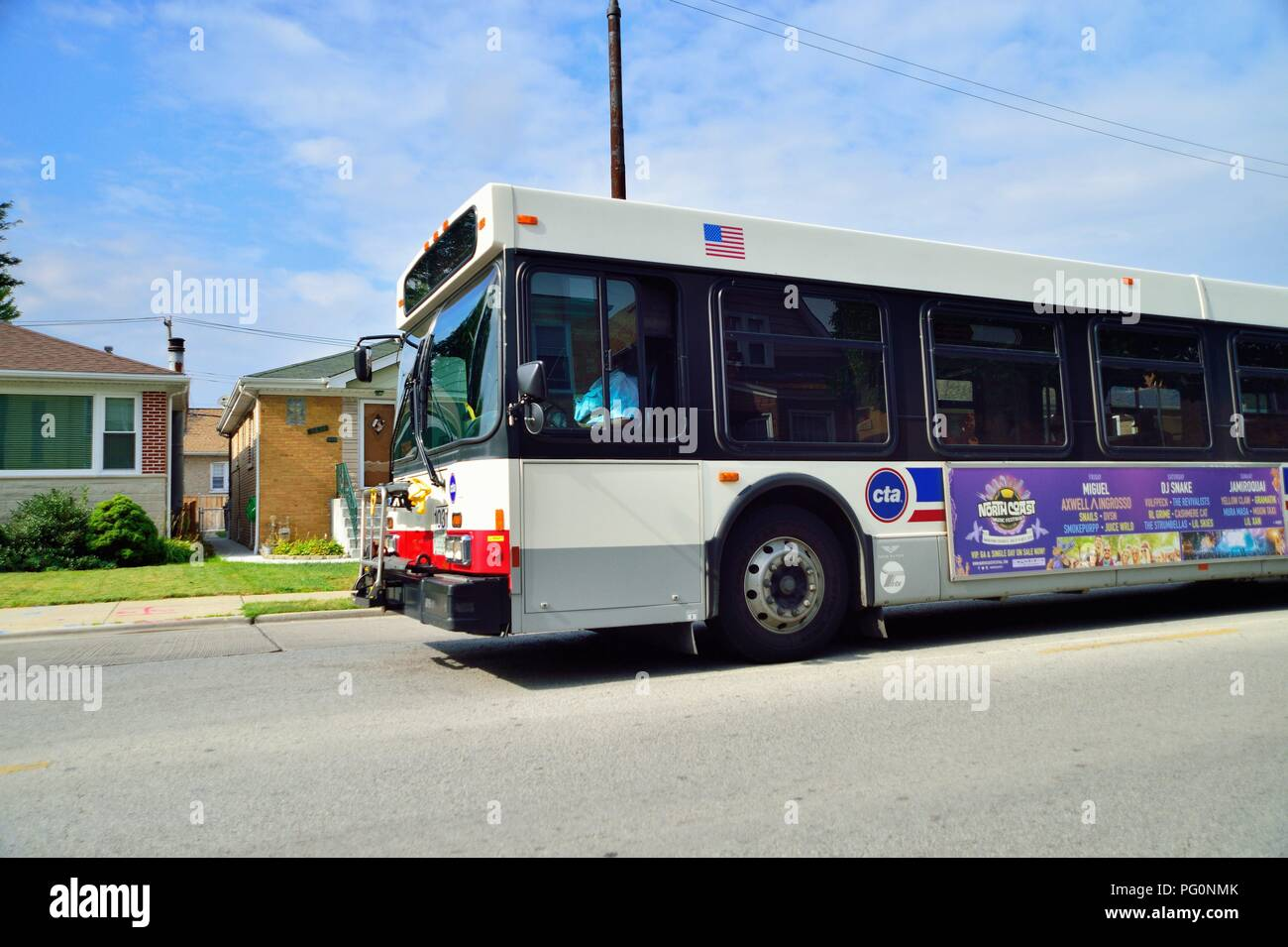 Chicago, Illinois, USA  A CTA bus om its route on the