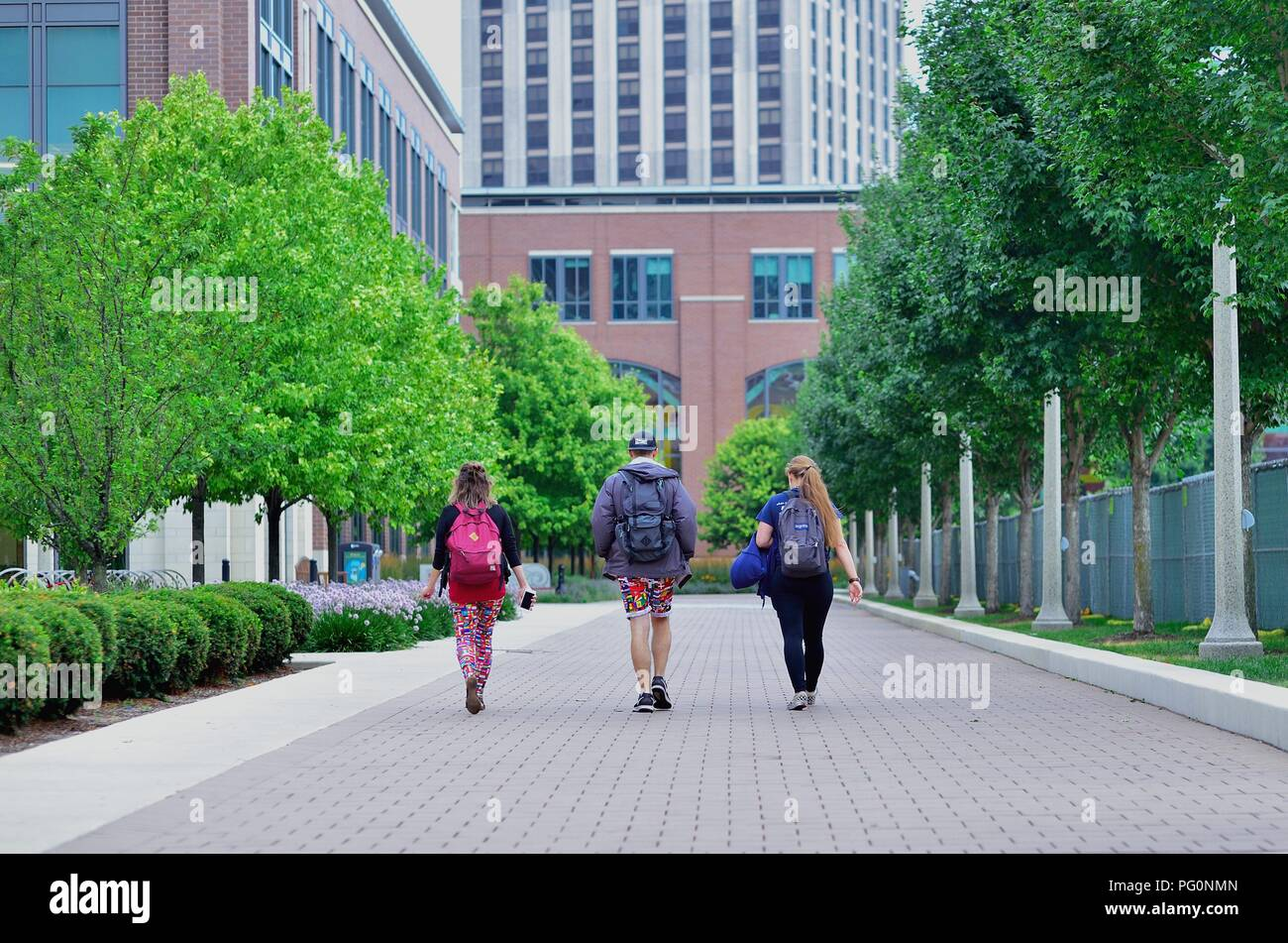 Chicago, Illinois, USA. Students walking on the campus of Loyola Univeristy. The Ctaholic Jesuit university is located on Chicago's far North Side. - Stock Image