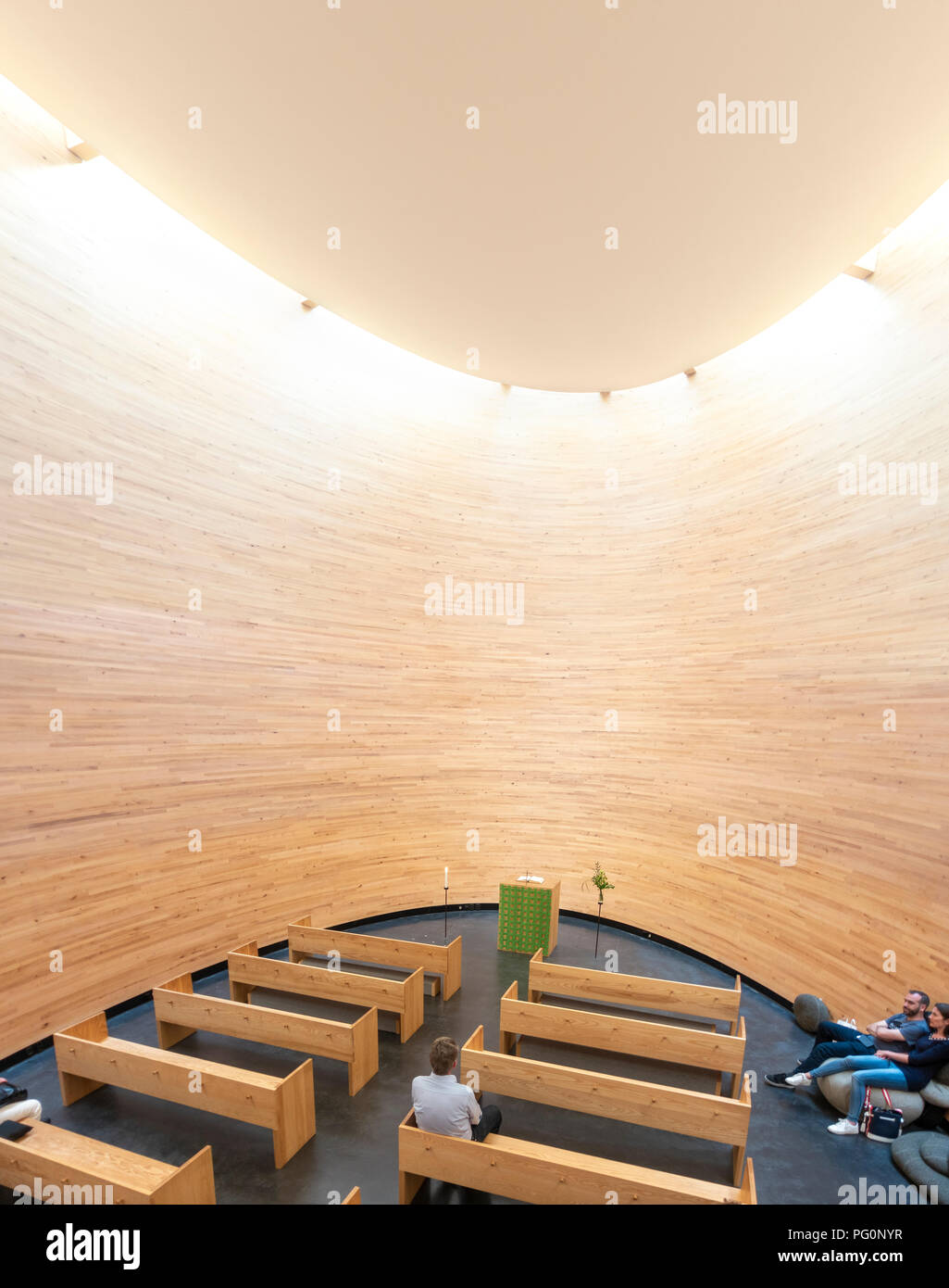 Kamppi Chapel interior. Kampin Kappeli or Chapel of Silence is a Lutheran chapel in Helsinki. Landmark of modern contemporary church architecture. - Stock Image