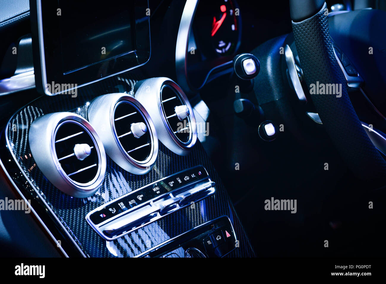 car ventilation system and air conditioning - details and controls of modern car. - Stock Image