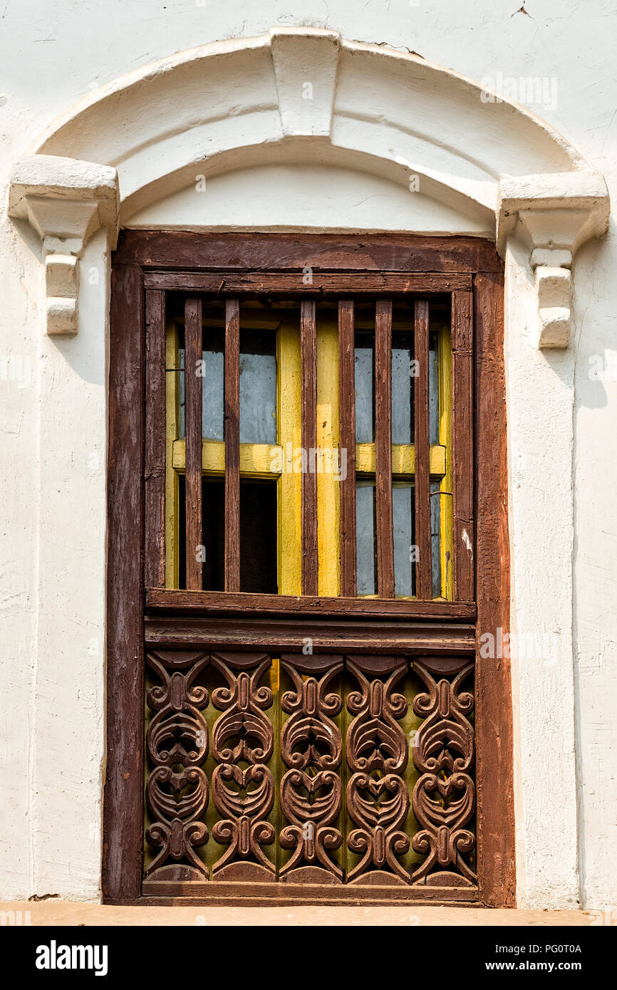 Nepalese door crafting and architecture of building in Kathmandu, Nepal - Kathmandu is the capital and largest municipality of Nepal. - Stock Image