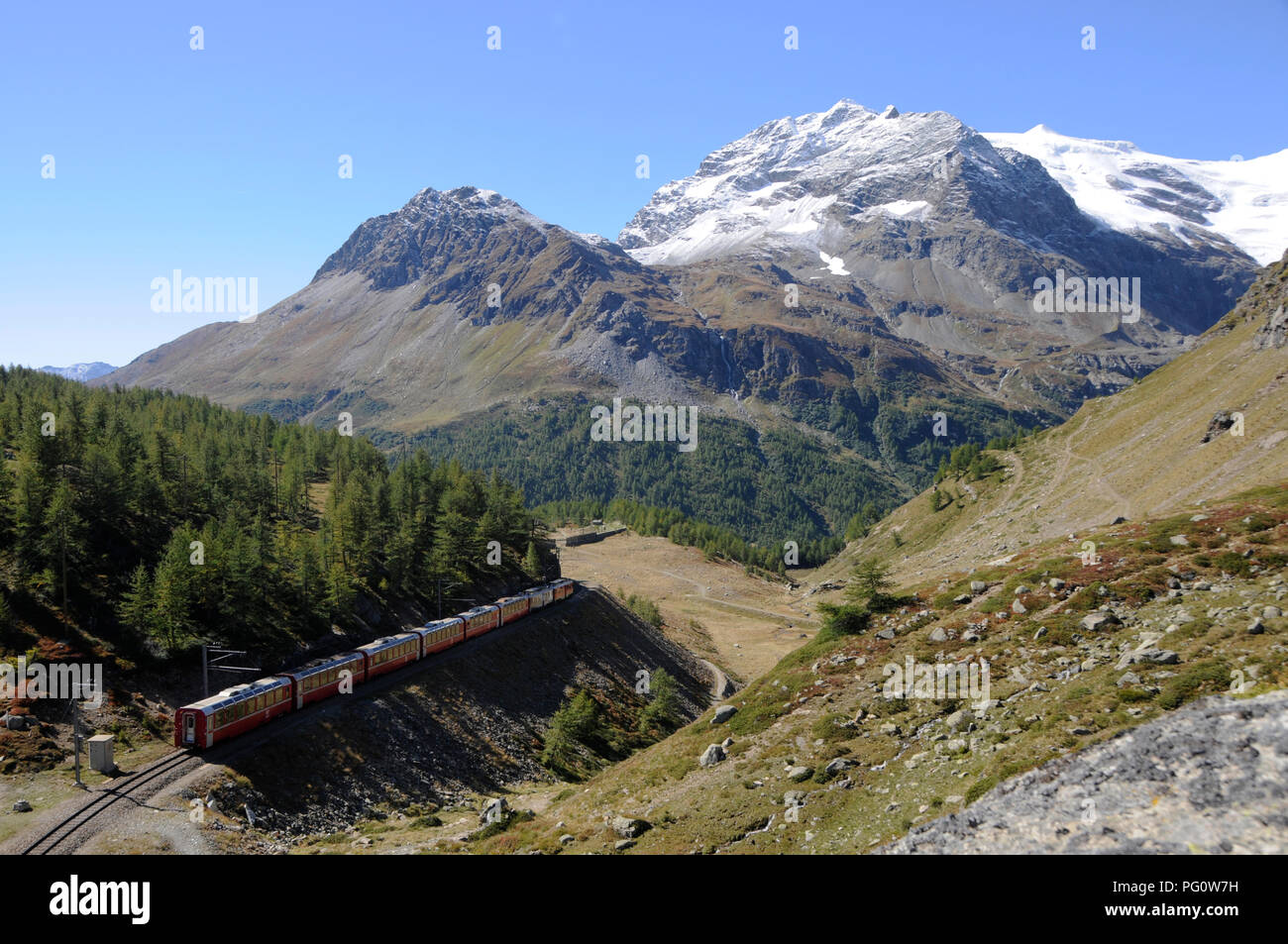 Swiss Alps: The Rhätische Railway up in the Bernina mountains on it's way from Pontresina to Alp Grüm and Posciavo - Stock Image