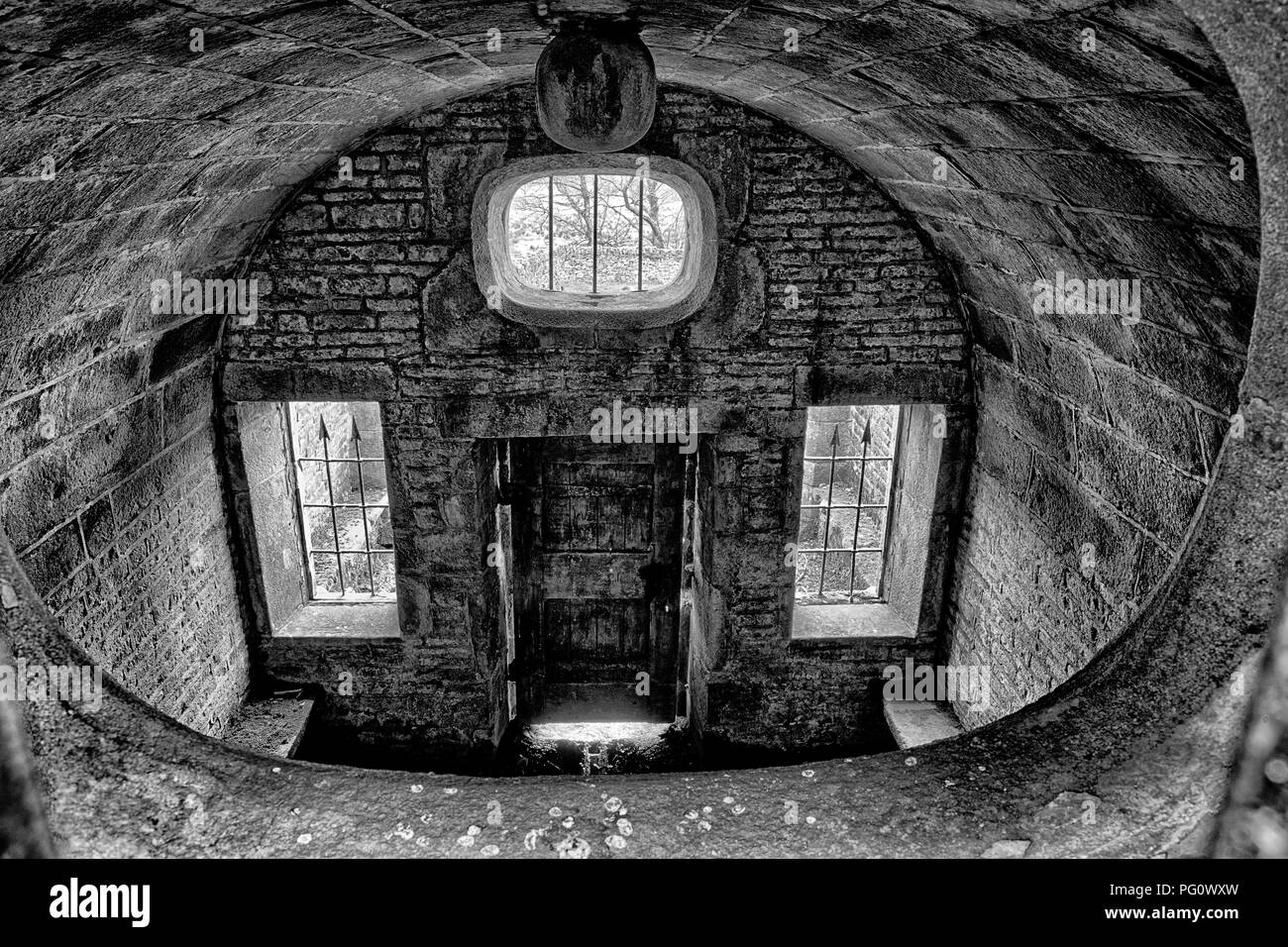 Hollinshead Hall, derelict Well House - Stock Image