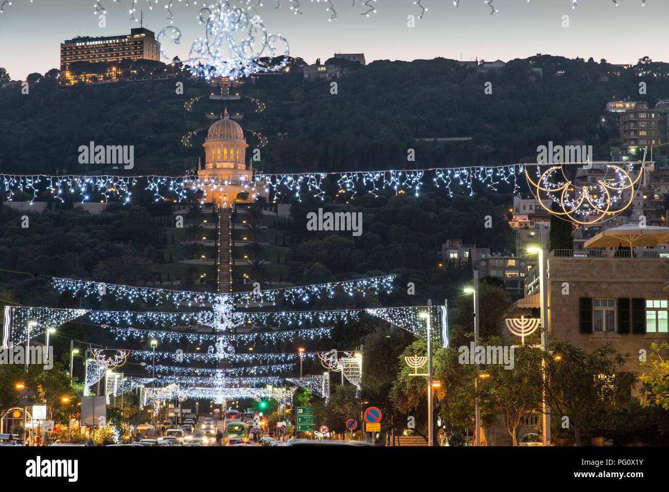 Haifa, Israel - December 11, 2015 : the Bahai gardens in The German Colony decorated for the holidays, in Haifa, Israel - Stock Image