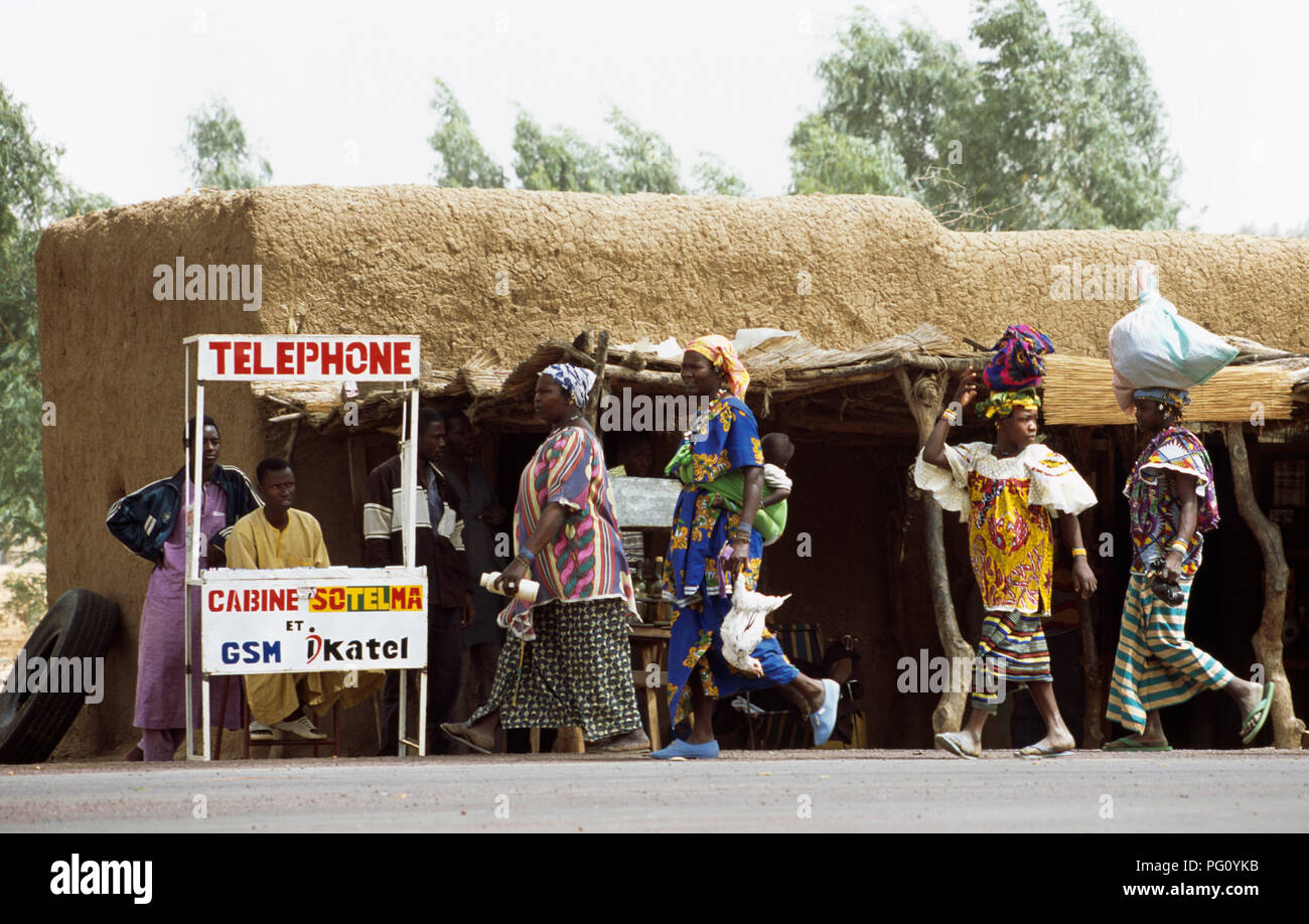Village woman at the telephone kiosk in Karpele village, near San, in Mali                FOR EDITORIAL USE ONLY - Stock Image