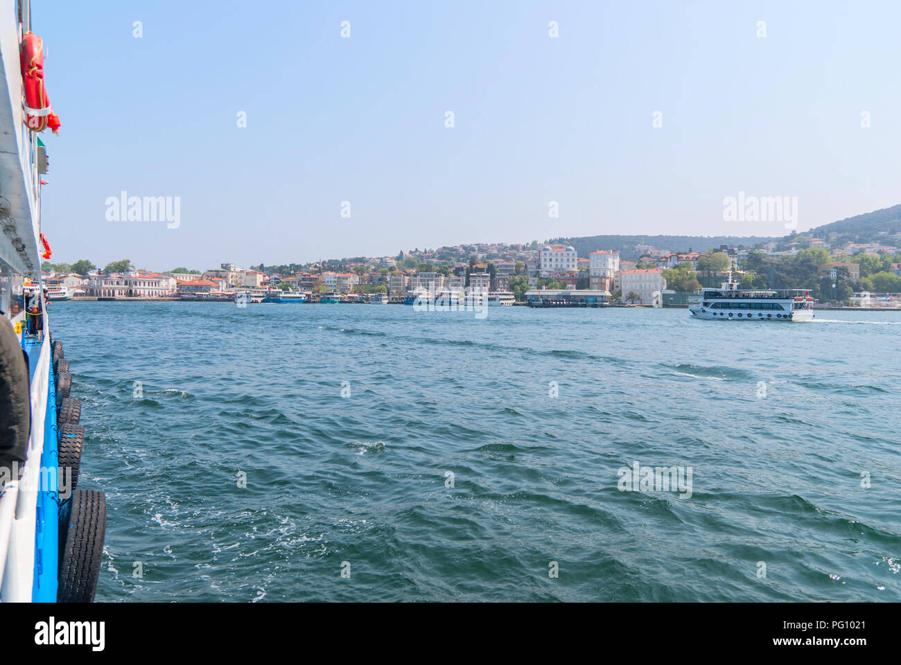 View of the Prince's Islands and the Sea of Marmara from the ferry boat - Stock Image