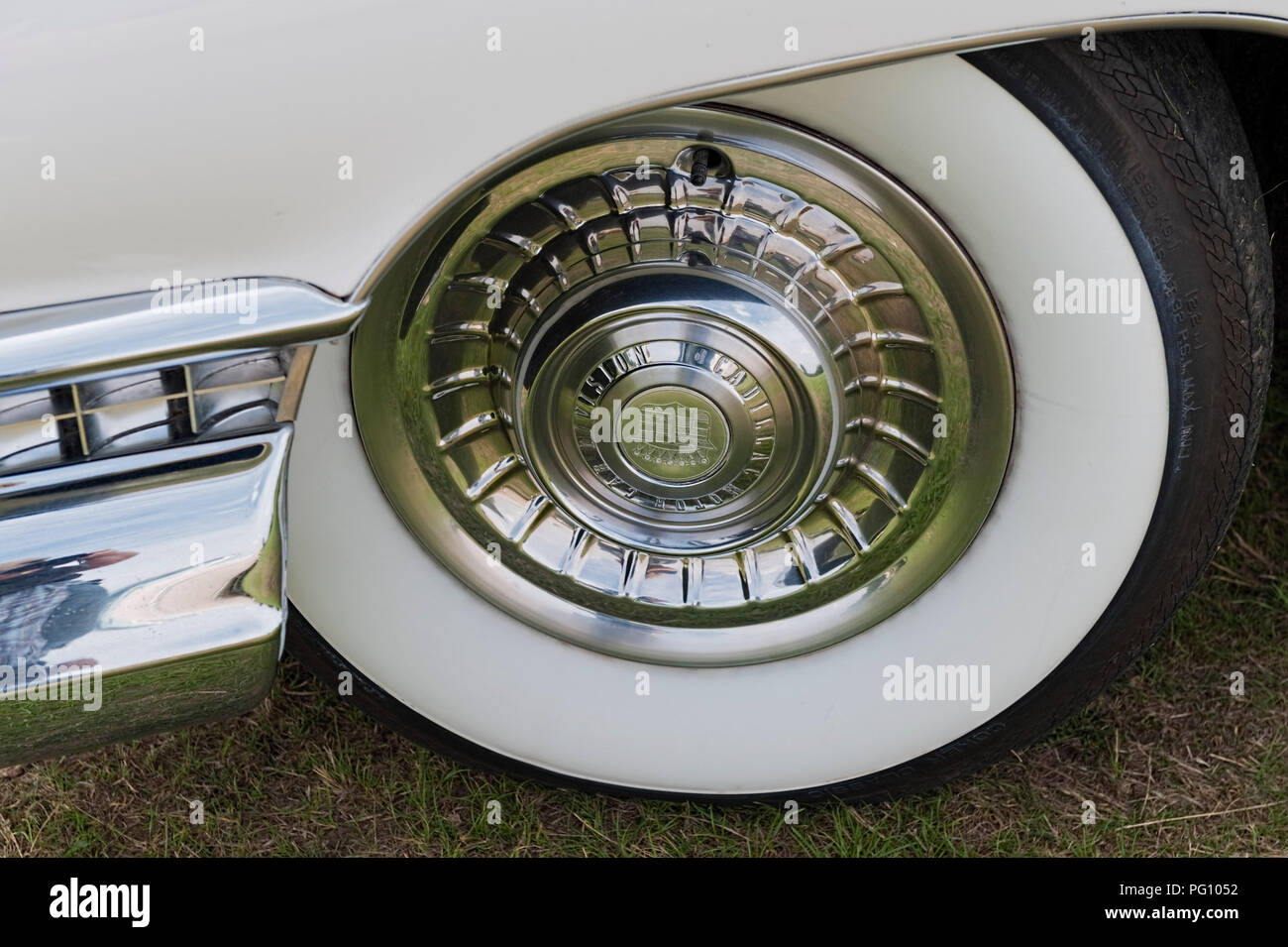 White Wall Tyre on Cadillac - Stock Image