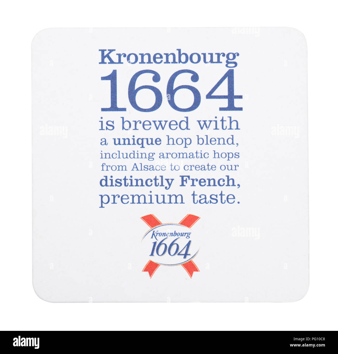 LONDON, UK - AUGUST 22, 2018: Kronenbourg 1664 paper beer beermat coaster isolated on white background. - Stock Image