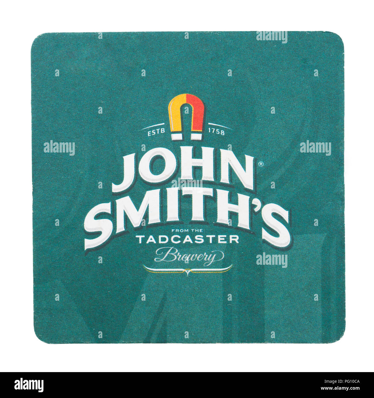 LONDON, UK - AUGUST 22, 2018: John Smith's paper beer beermat coaster isolated on white background. - Stock Image