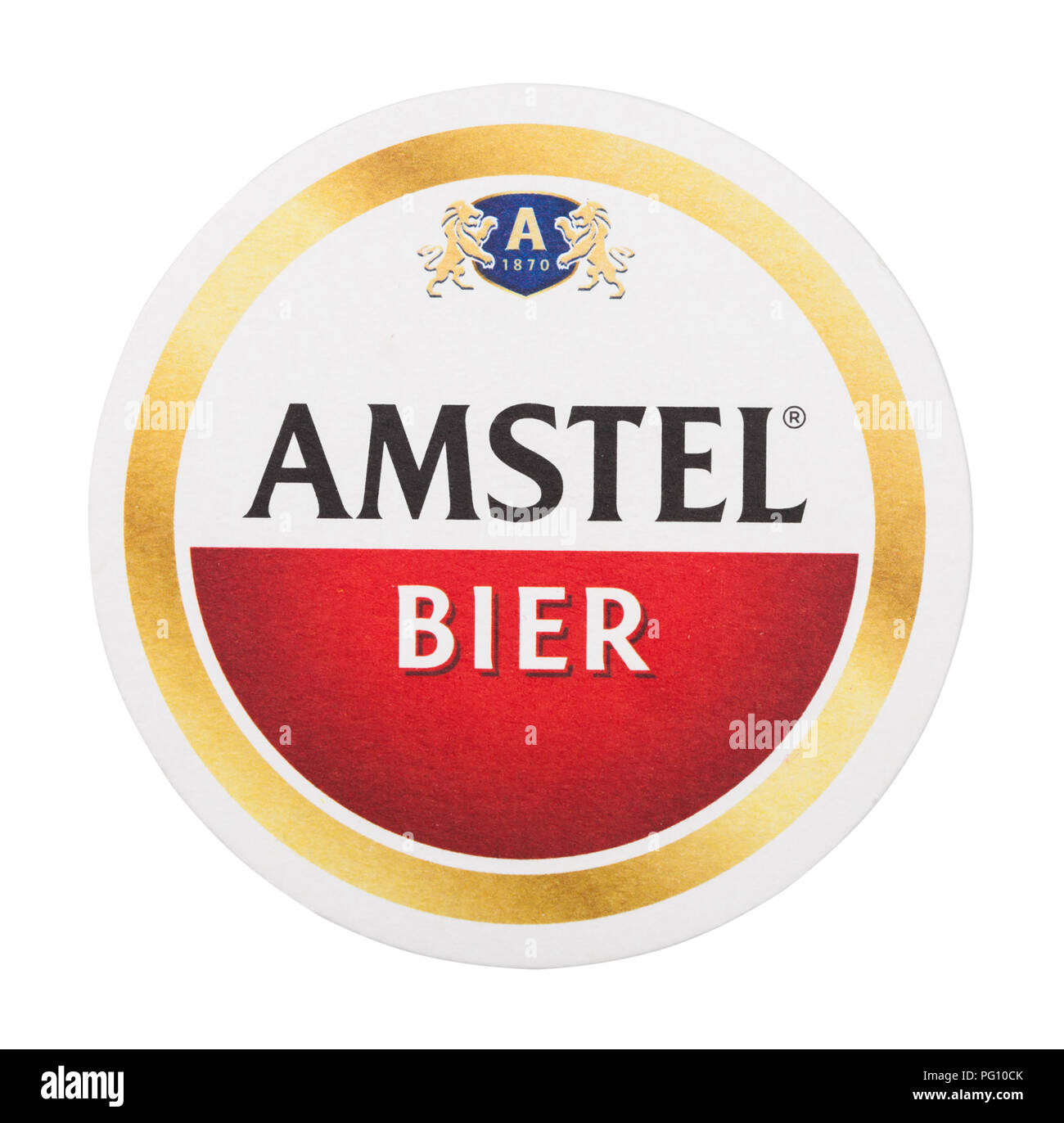 LONDON, UK - AUGUST 22, 2018: Amstel Lager paper beer beermat coaster isolated on white background. - Stock Image