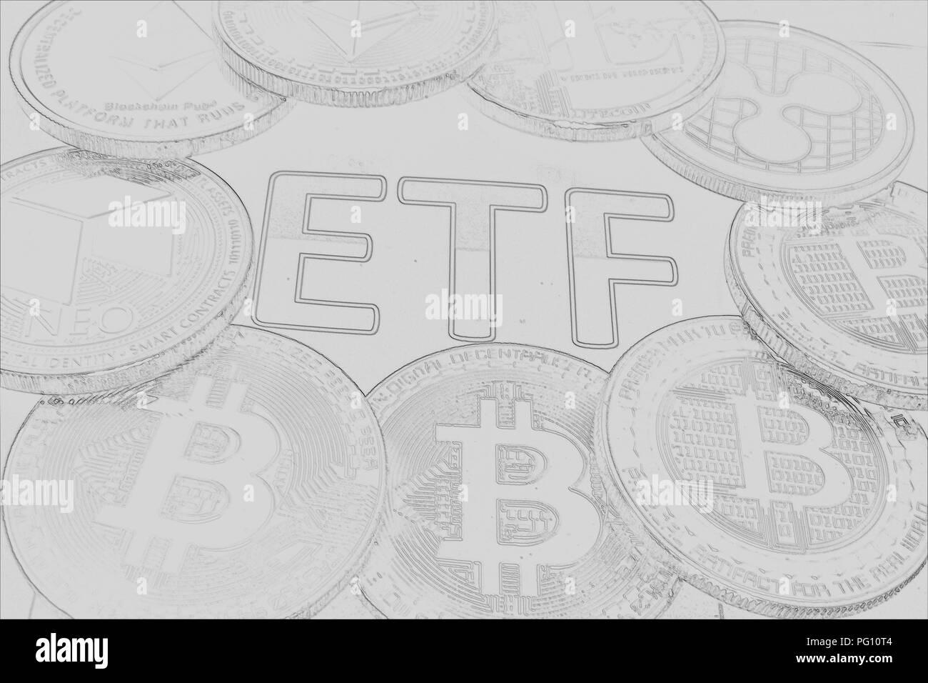 A crypto ETF - the next step towards a decentrailzed future for our money - bitcoin ETF pencil drawn Stock Photo