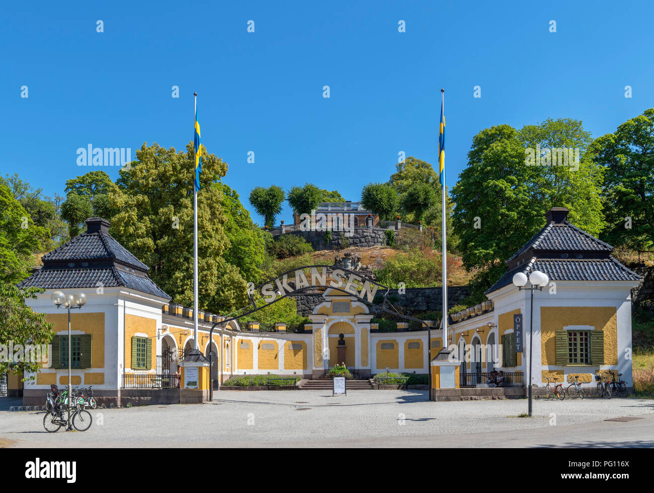 Entrance to Skansen open air museum, Djurgården, Stockholm, Sweden - Stock Image