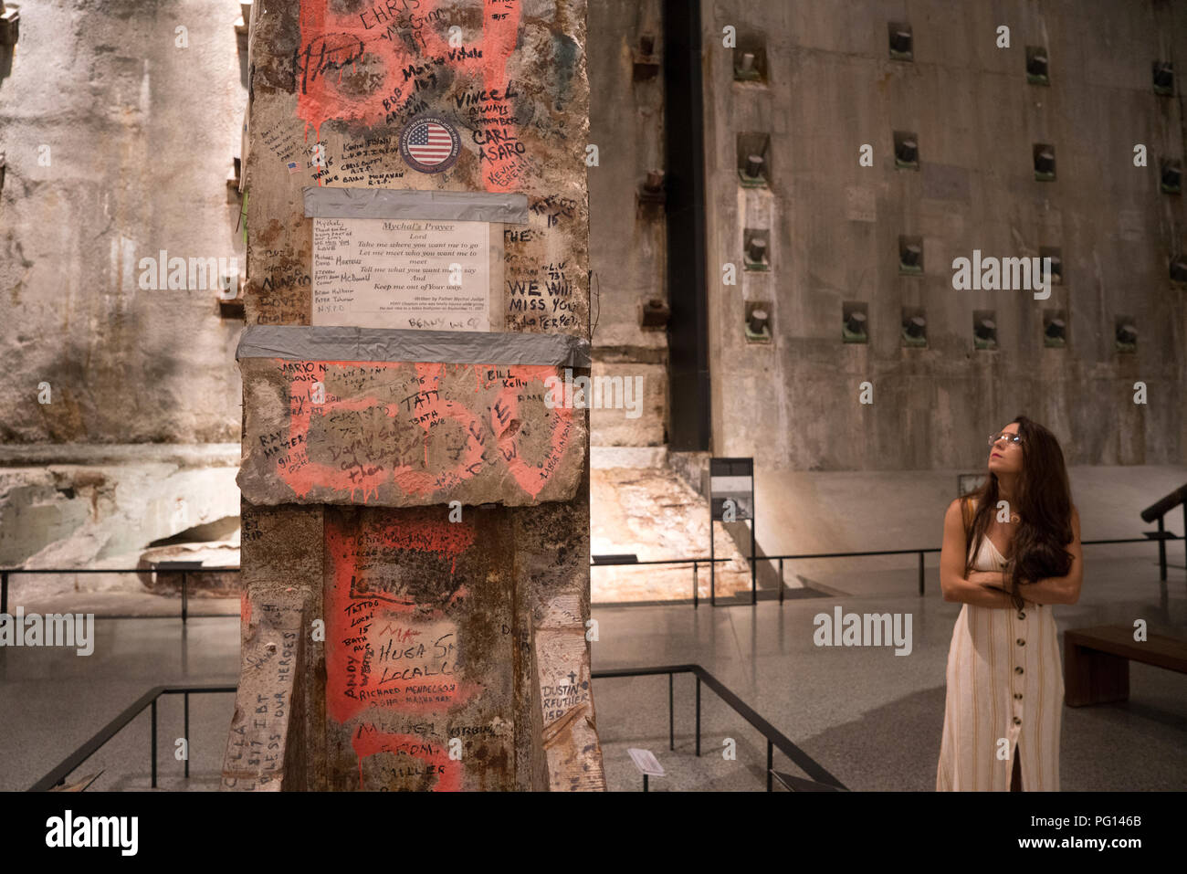 A 36-foot-tall column, now in the National September 11 Memorial & Museum in Manhattan, was the last to be removed from the World Trade Center site. - Stock Image