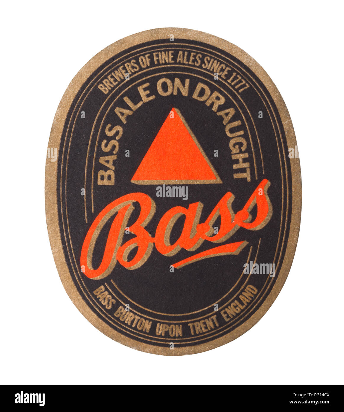 LONDON, UK - AUGUST 22, 2018: Bass ale paper beer beermat coaster isolated on white background. - Stock Image