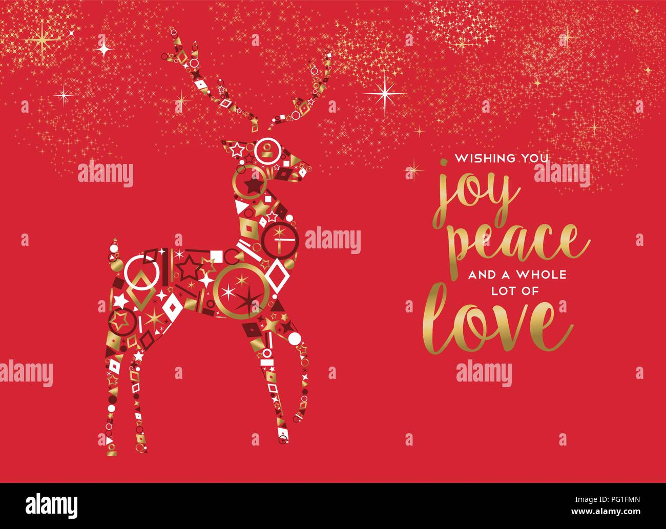 Merry Christmas Greeting Card Illustration Gold Xmas Reindeer Made Of Elegant Golden Icons With Joy Peace And Love Text On Red Color Holidays Backgr Stock Vector Image Art Alamy