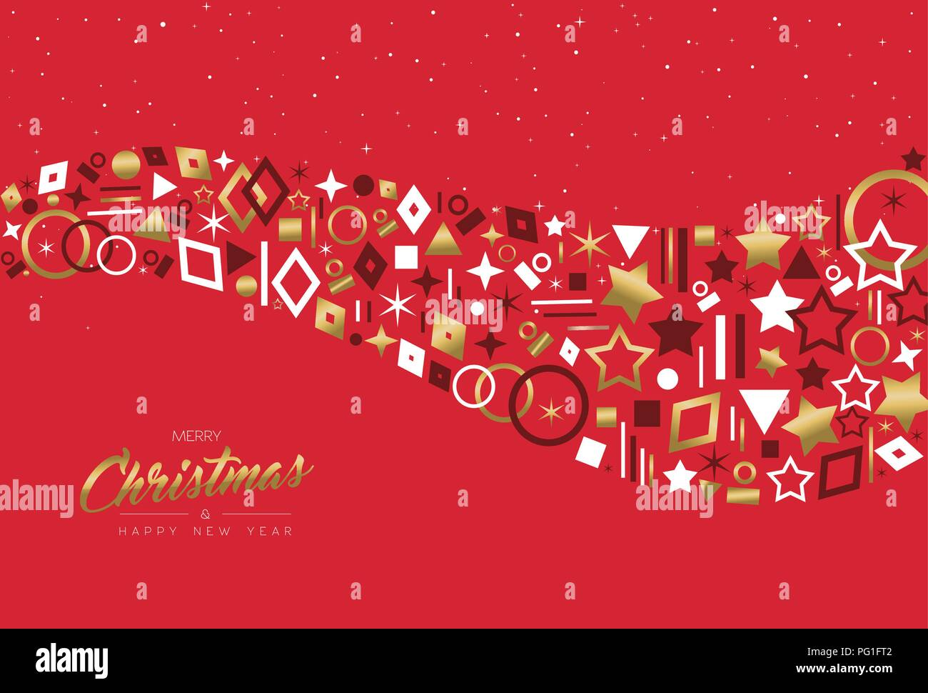 merry christmas and happy new year greeting card design with elegant gold color decoration icons on red holidays background eps10 vector