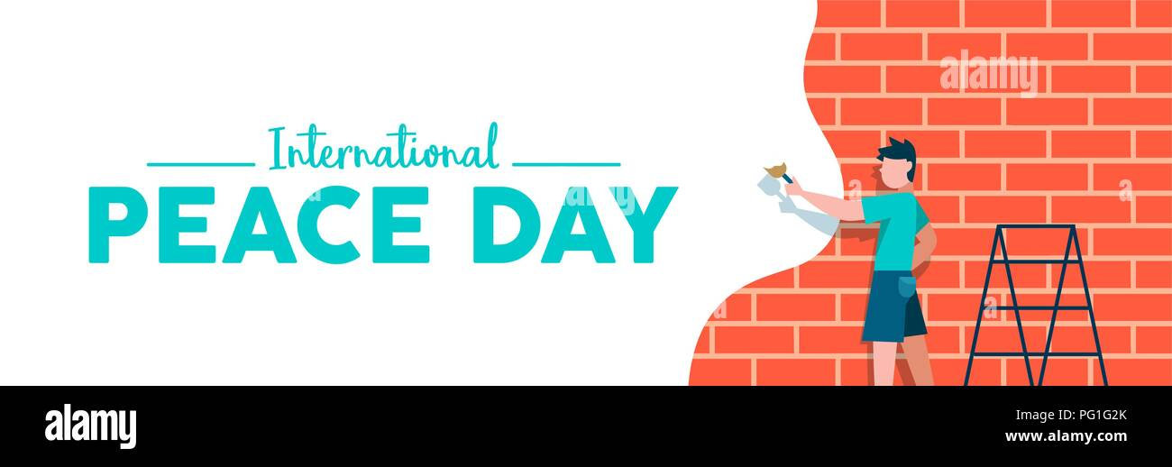 International Peace day web social media banner illustration, peaceful art expression concept. Boy painting brick wall in white color for world childr - Stock Image