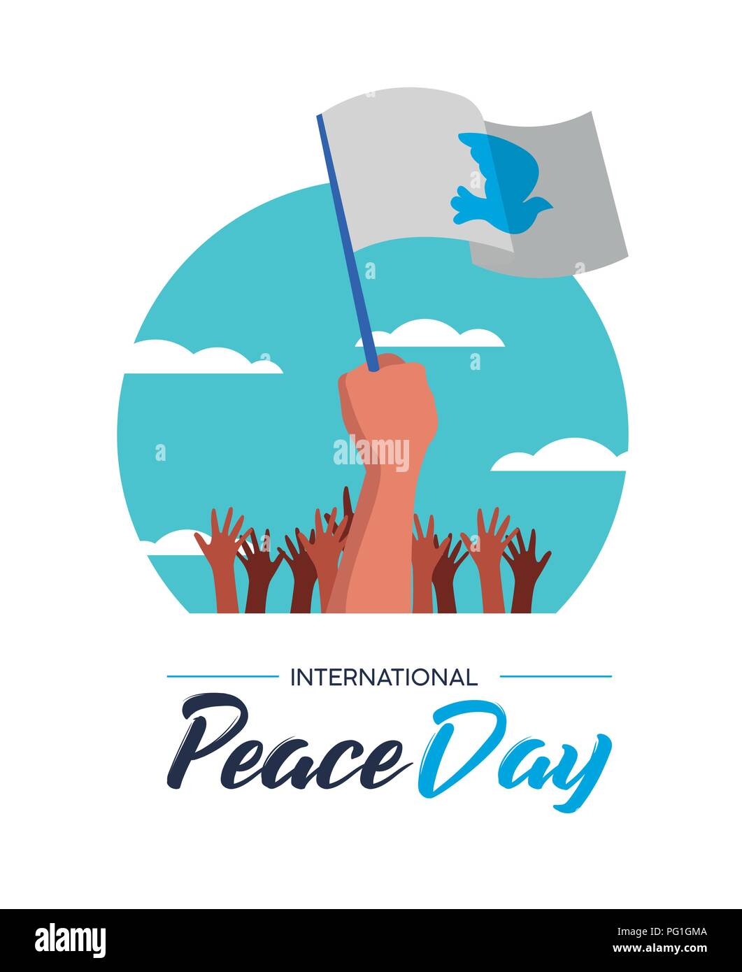 International Peace Day illustration, world freedom celebration for everyone. Group of people hands with white flags and pigeon in special pacifist ev - Stock Image
