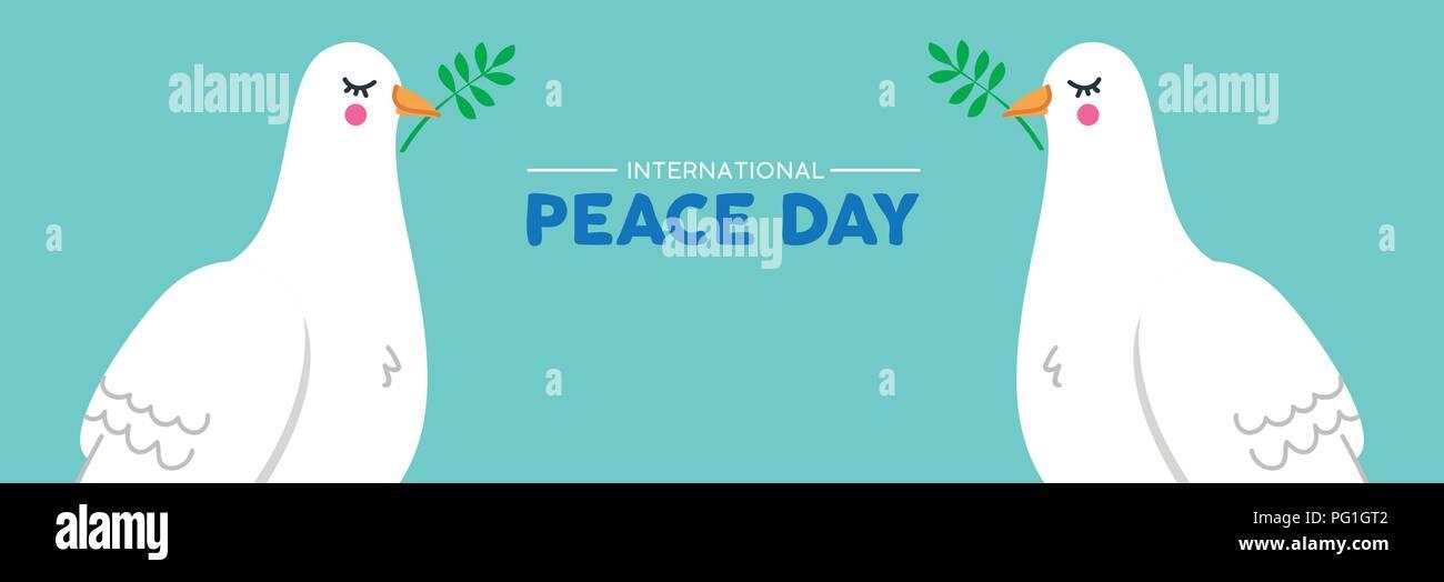 International Peace Day Social Media Web Banner Illustration Of Two