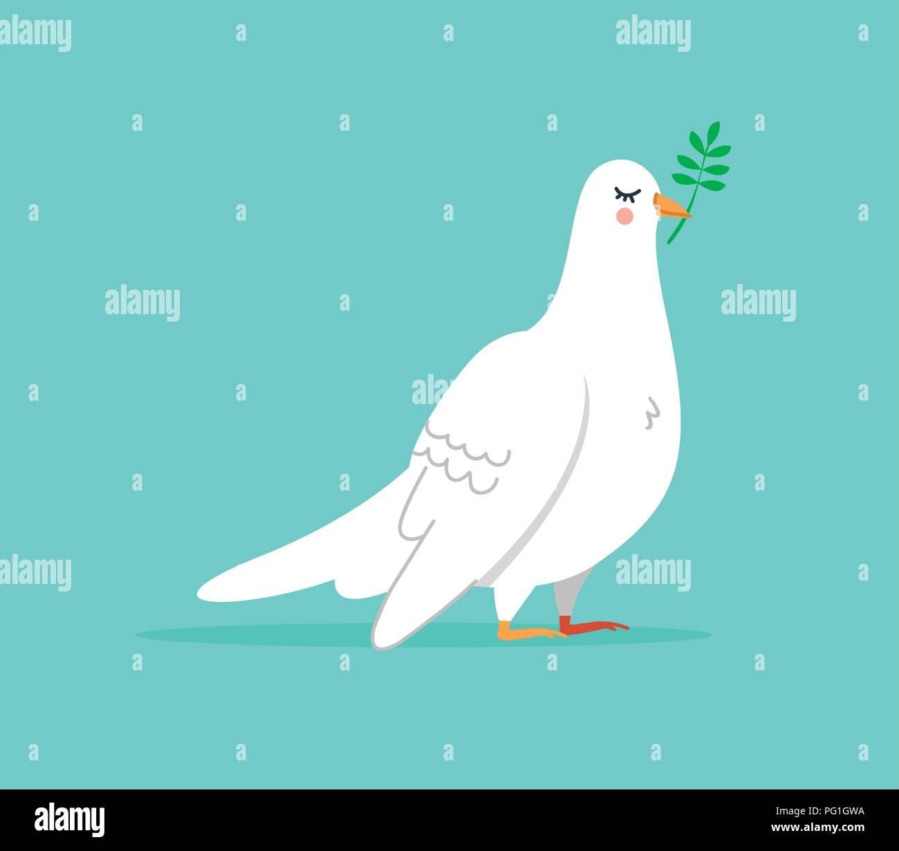 Isolated white dove illustration, cute bird animal in hand drawn style for peace and happiness. EPS10 vector. - Stock Image