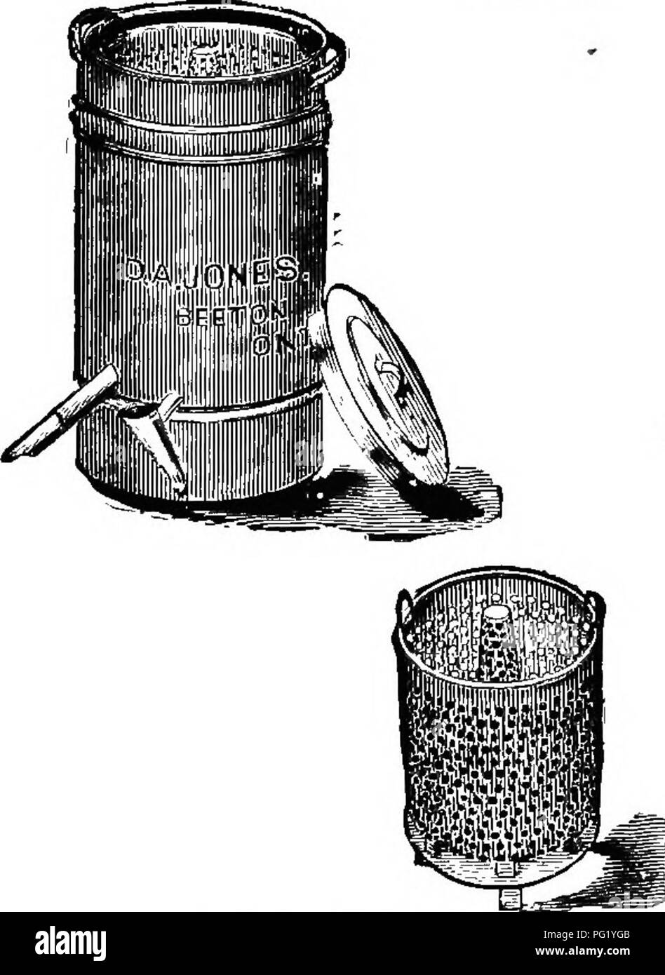 . The bee-keeper's guide; or, Manual of the apiary. Bees. 368 THK bbk-kbbpbr's guidb ; But as wax is to become so important, and as the above methods are slow, wasteful, and apt to give a poor quality of wax, specialists, and even amateurs who keep ten or twenty colonies of bees, may well procure a wax-extractor (Fig. 180). This is also a foreign invention, the first being made by Prof. Gerster, of Berne, Switzerland. These cost from five to seven Fig. 181.. Please note that these images are extracted from scanned page images that may have been digitally enhanced for readability - coloration a - Stock Image
