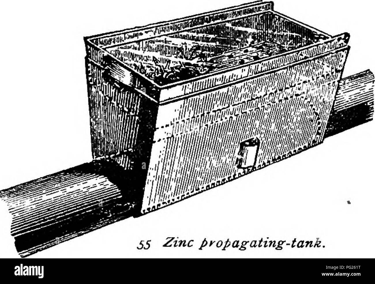 . The nursery-book; a complete guide to the multiplication of plants ... Gardening; Plant propagation. PROPAGATING DEVICES. 51. Zinc propagating-tank. at that point. Various devices are employed for the pur- pose of securing these advantages to the best effect. These usually are double pots, in one of which water is placed. A good method is that rep- resented in Figure 56, which shows a pot, b, plugged with plaster of Pans at the bottom, placed inside a larger one. The earth is placed between the two, drainage material occu- pying the bottom, a, and fine soil the top, c. Water stands in the in - Stock Image