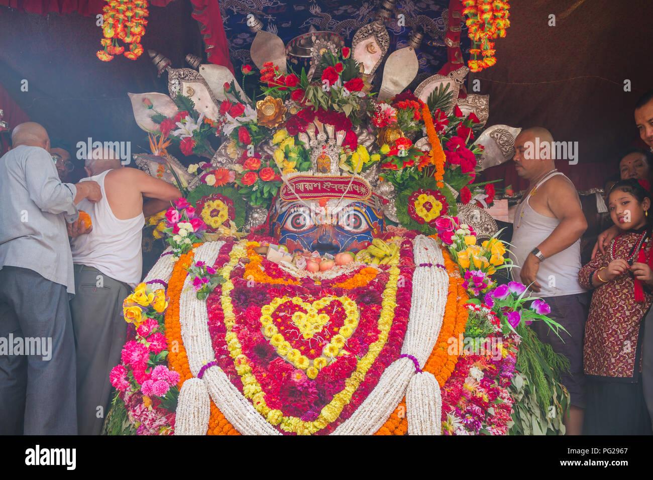 Kathmandu,Nepal - Sep 4,2017 : Newar People of kathmandu worshiping God Seto machindranath.Seto Machhendranath is also known as White Machindranath. - Stock Image