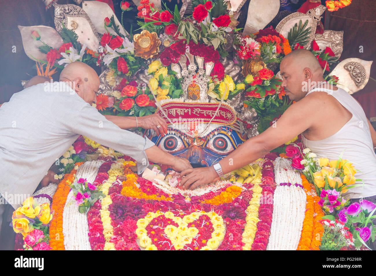 Kathmandu,Nepal - Sep 4,2017 : Newar People of kathmandu worshiping God Seto machindranath.Seto Machhendranath is also known as White Machindranath. Stock Photo