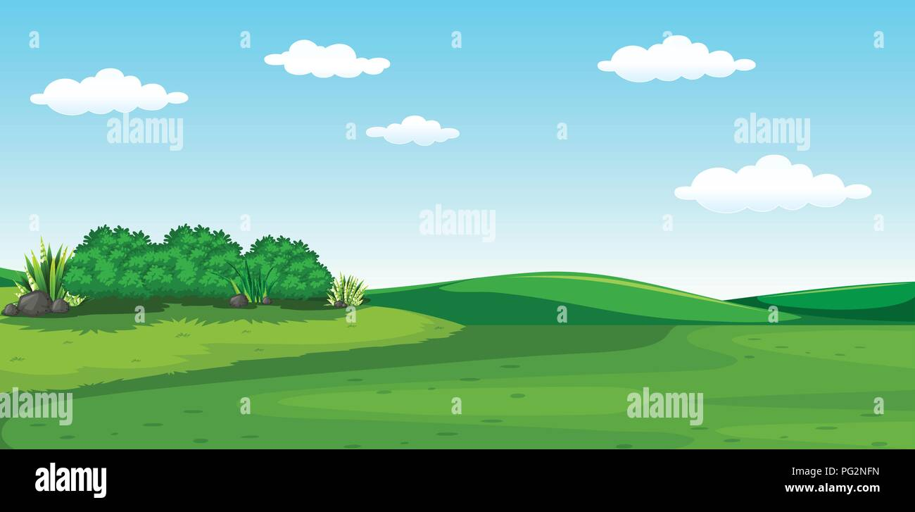 A beautiful greenery scenery illustration - Stock Vector