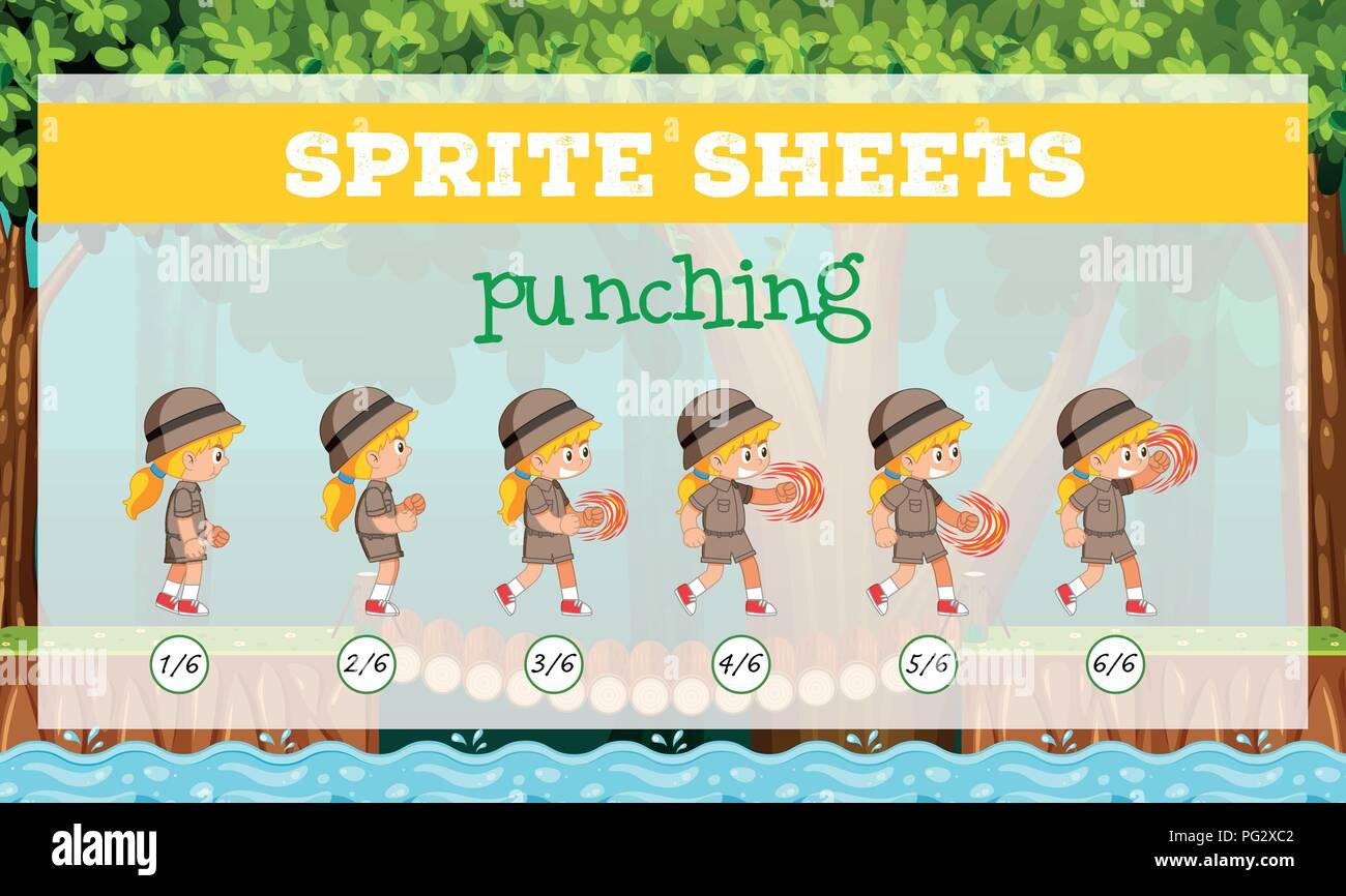Sprite sheets girl punching illustration - Stock Vector