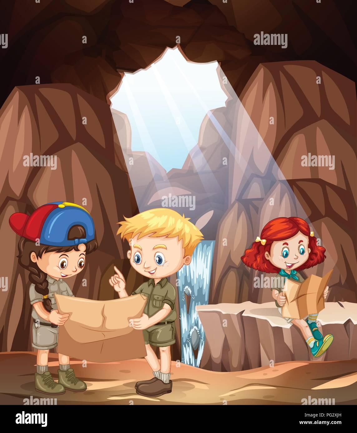 children exploring a cave illustration - Stock Vector