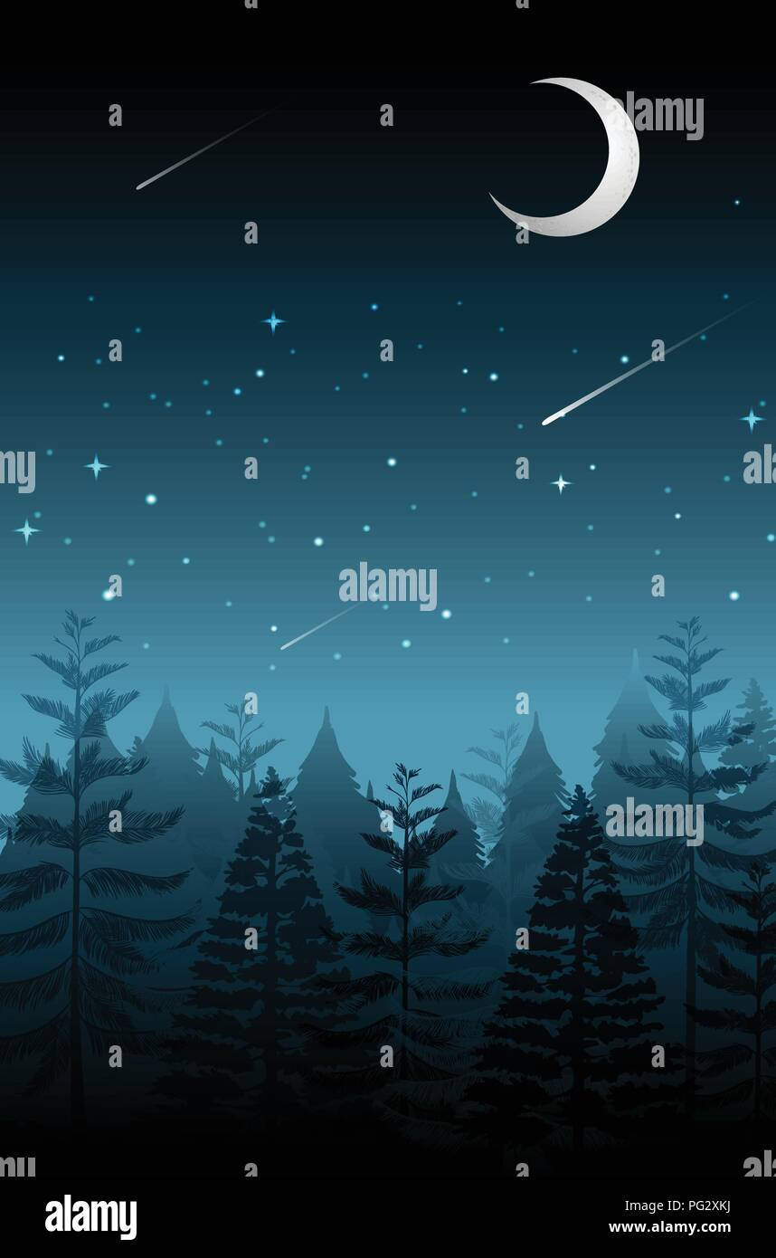 Shooting star on the dark night illustration - Stock Image