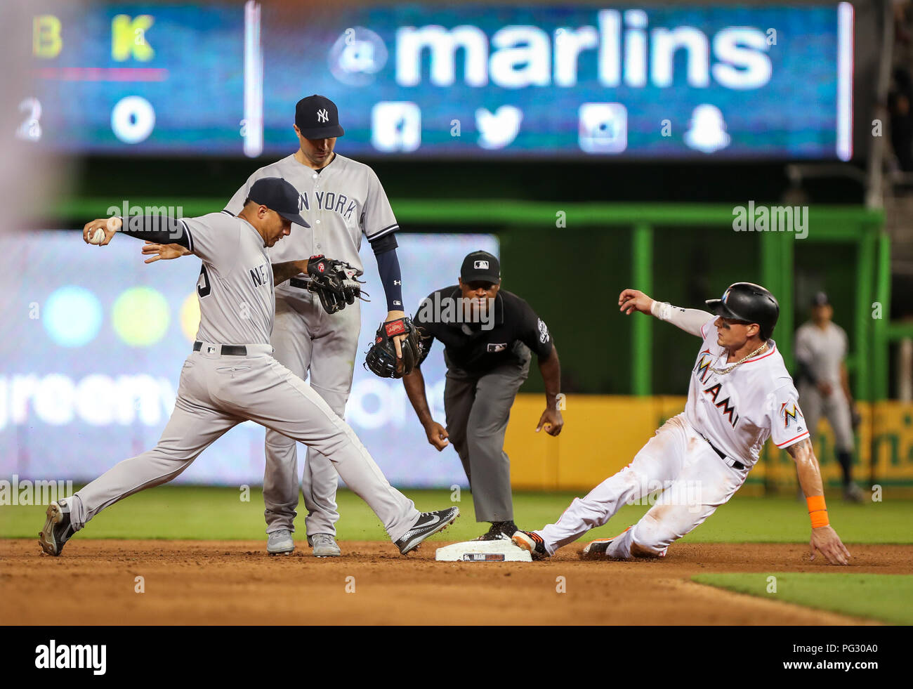 new arrivals 24eb3 47ef6 Miami, Florida. August 22, 2018: Miami Marlins left fielder ...
