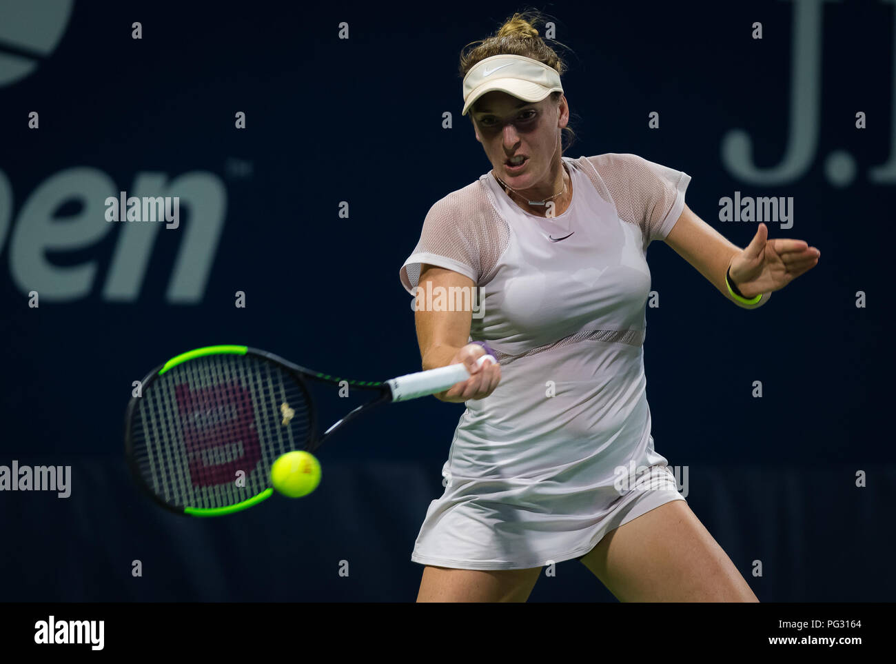 New York, USA. 24th Aug 2018. New York, USA. Madison Brengle of the United States in action during the first qualifications round at the 2018 US Open Grand Slam tennis tournament. New York, USA. August 22th 2018. 22nd Aug, 2018. Credit: AFP7/ZUMA Wire/Alamy Live News Stock Photo