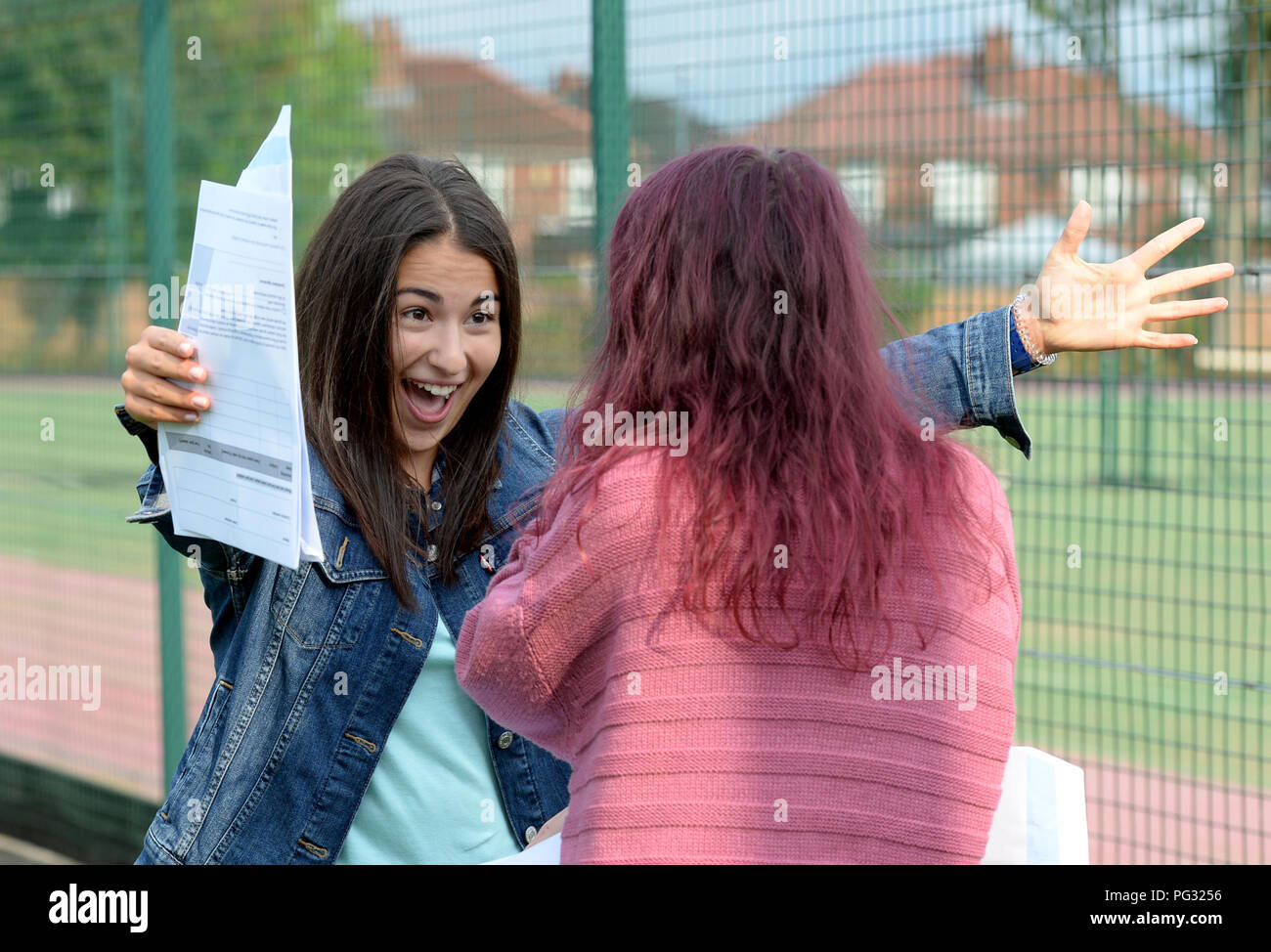 Manchester, UK. 23rd Aug, 2018. Tea Milanbovic who is a pupil at Withington Girl's School, Manchester celebrates getting 9 grade 9's passes and a A^ pass. Photograph by Credit: Howard Walker/Alamy Live News - Stock Image