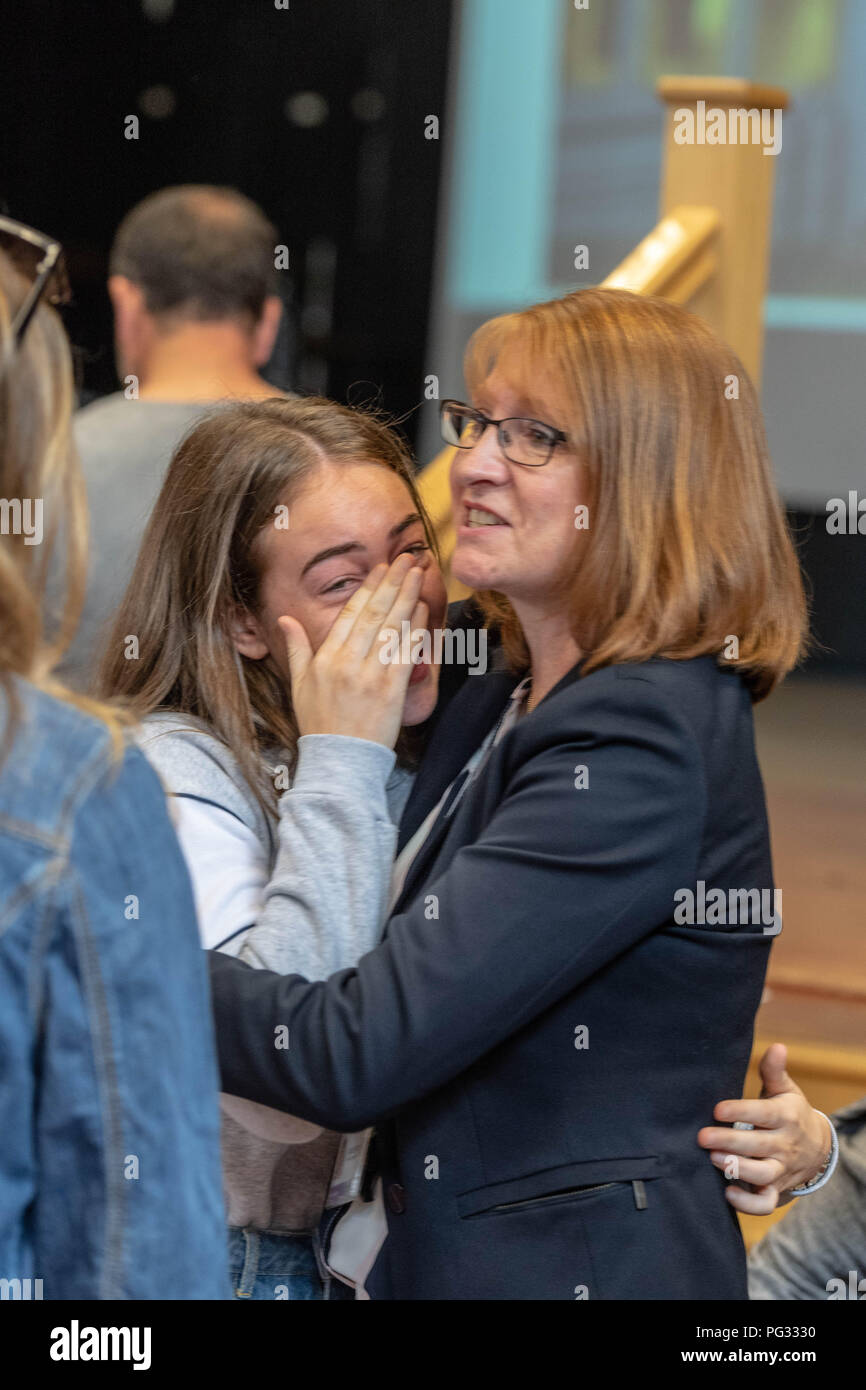 Brentwood Essex 23rd August 2018 Students receive GCSE results   at Becket Keys Church of England School A tearful student is congratulated credit Ian Davidson/Alamy Live News - Stock Image