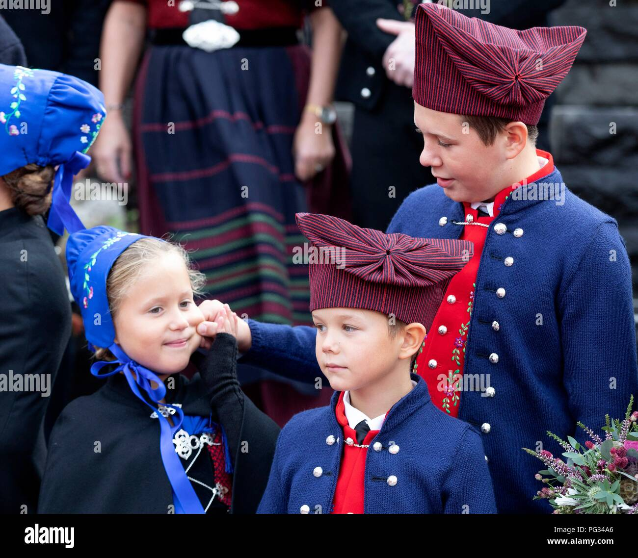 Torshavn, Faroe Islands, Denmark. 23rd Aug, 2018. Prince Christian, Prince Vincent and Princess Josehpine of Denmark arrive with the The Royal Ship, HDMY Dannebrog at Bursatangi, on August 23, 2018, on the 1st of the 4 days visit to the Faroe Islands Photo : Albert Nieboer/ Netherlands OUT/Point de Vue OUT | Credit: dpa/Alamy Live News - Stock Image