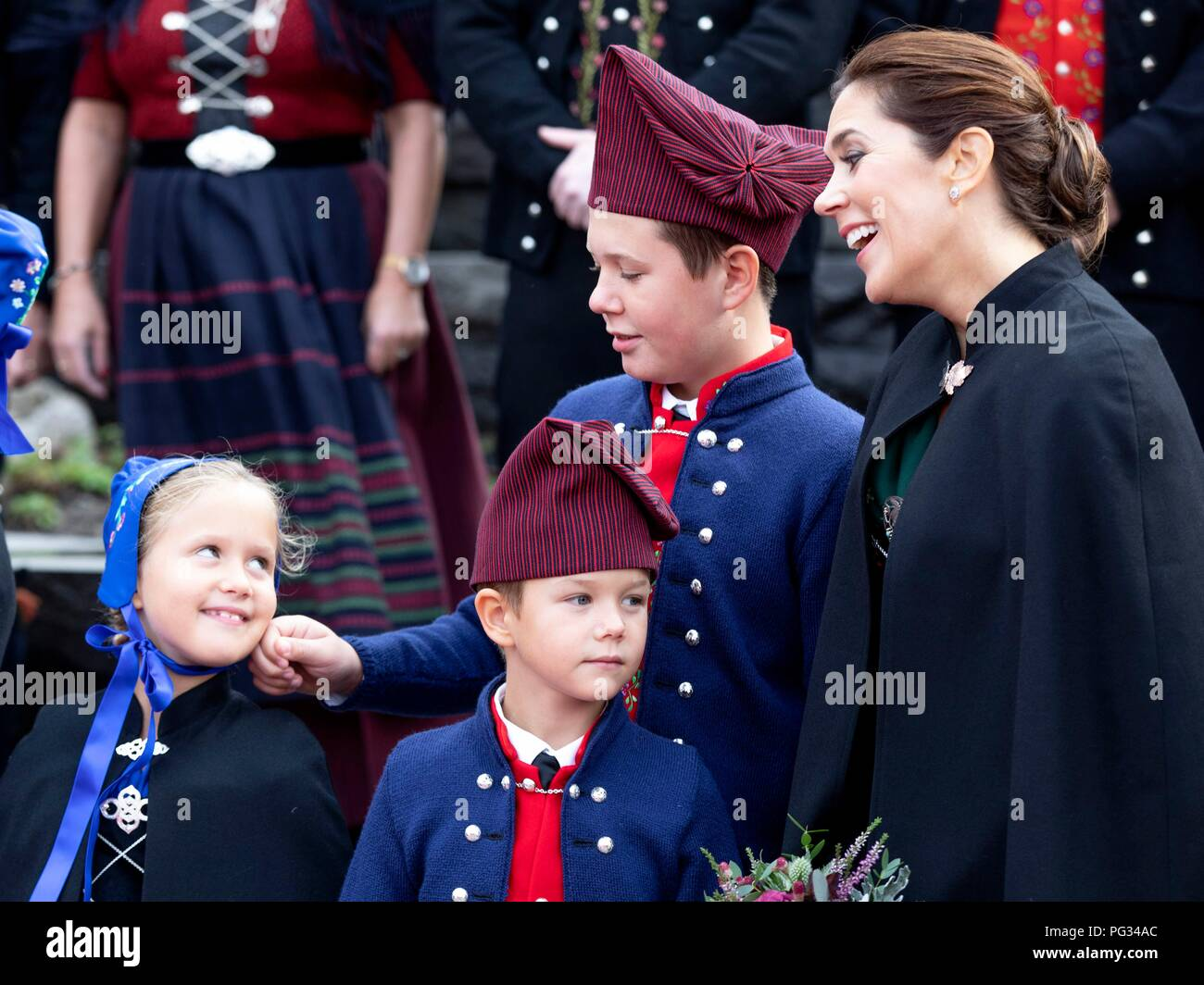 Torshavn, Faroe Islands, Denmark. 23rd Aug, 2018. Crown Princess Mary, Prince Christian, Princess Isabella, Prince Vincent and Princess Josehpine of Denmark arrive with the The Royal Ship, HDMY Dannebrog at Bursatangi, on August 23, 2018, on the 1st of the 4 days visit to the Faroe Islands Photo : Albert Nieboer/ Netherlands OUT/Point de Vue OUT | Credit: dpa/Alamy Live News - Stock Image