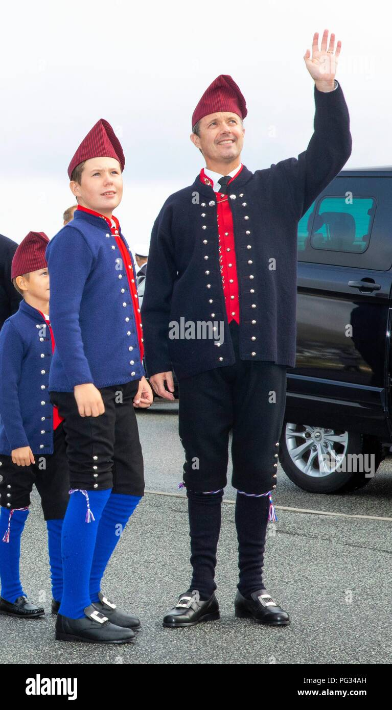 Torshavn, Faroe Islands, Denmark. 23rd Aug, 2018. Crown Prince Frederik and Prince Christian of Denmark arrive with the The Royal Ship, HDMY Dannebrog at Bursatangi, on August 23, 2018, on the 1st of the 4 days visit to the Faroe Islands Photo : Albert Nieboer/ Netherlands OUT/Point de Vue OUT | Credit: dpa/Alamy Live News - Stock Image