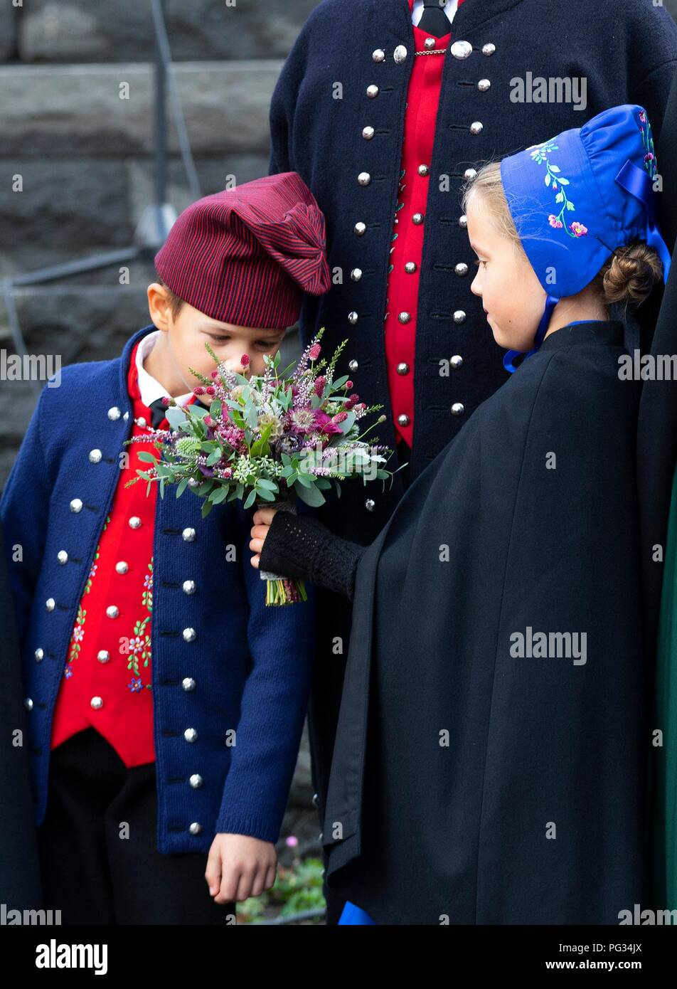 Torshavn, Faroe Islands, Denmark. 23rd Aug, 2018. Prince Vincent and Princess Josehpine of Denmark arrive with the The Royal Ship, HDMY Dannebrog at Bursatangi, on August 23, 2018, on the 1st of the 4 days visit to the Faroe Islands Photo : Albert Nieboer/ Netherlands OUT/Point de Vue OUT | Credit: dpa/Alamy Live News - Stock Image