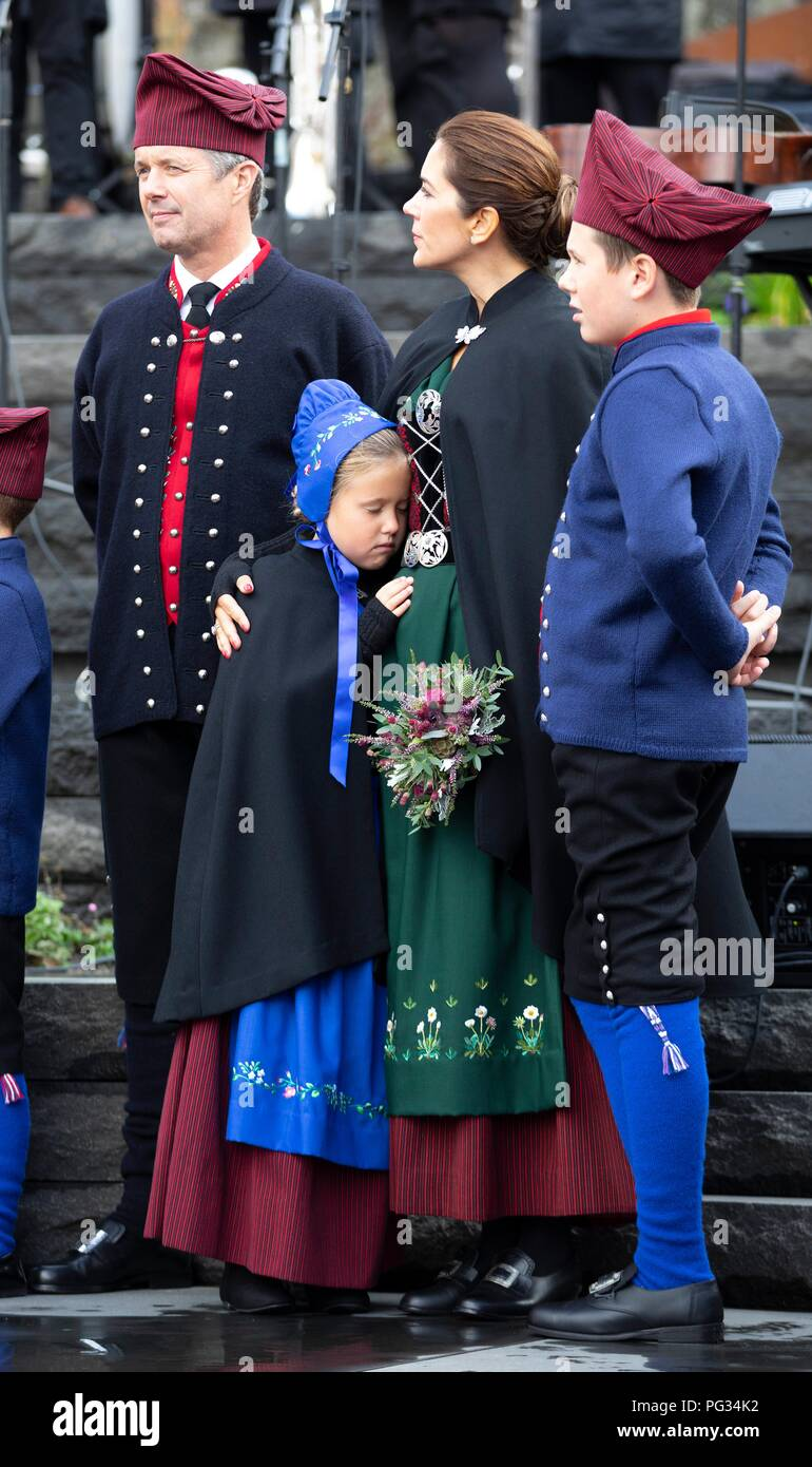 Torshavn, Faroe Islands, Denmark. 23rd Aug, 2018. Crown Prince Frederik, Crown Princess Mary, Prince Christian and Princess Josehpine of Denmark arrive with the The Royal Ship, HDMY Dannebrog at Bursatangi, on August 23, 2018, on the 1st of the 4 days visit to the Faroe Islands Photo : Albert Nieboer/ Netherlands OUT/Point de Vue OUT | Credit: dpa/Alamy Live News - Stock Image