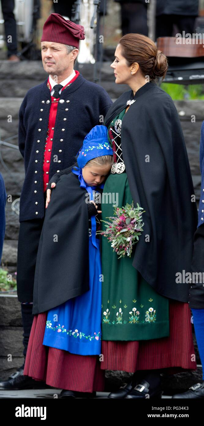Torshavn, Faroe Islands, Denmark. 23rd Aug, 2018. Crown Prince Frederik, Crown Princess Mary and Princess Josehpine of Denmark arrive with the The Royal Ship, HDMY Dannebrog at Bursatangi, on August 23, 2018, on the 1st of the 4 days visit to the Faroe Islands Photo : Albert Nieboer/ Netherlands OUT/Point de Vue OUT | Credit: dpa/Alamy Live News - Stock Image