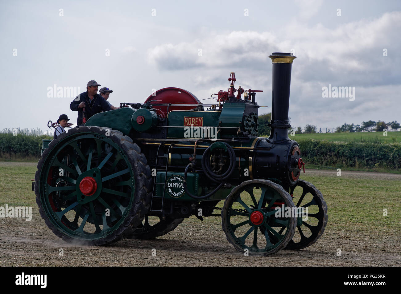 Great Dorset Steam Fair, Blandford, Dorset, UK. 23rd August 2018. Historic steam engines underway at the show. This Robey 8NHP Road Locomotive is owned by Andy McKay ogf Geraldine New Zealand where it operated mostly around Christchurch. Built 1914. Wyrdlight / Alamy Live News - Stock Image