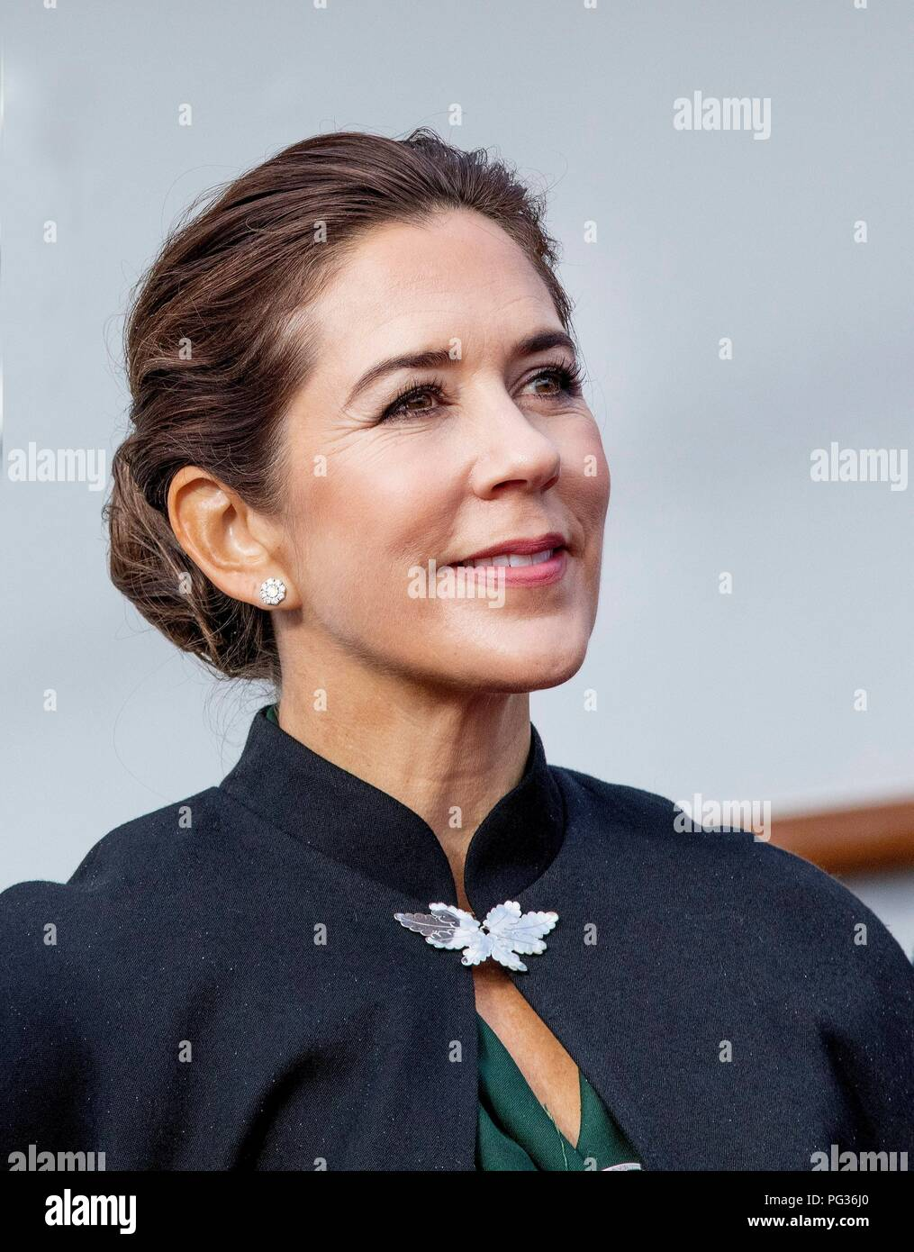 Torshavn, Faroe Islands, Denmark. 23rd Aug, 2018. Crown Princess Mary of Denmark arrive with the The Royal Ship, HDMY Dannebrog at Bursatangi, on August 23, 2018, on the 1st of the 4 days visit to the Faroe Islands Photo : Albert Nieboer/ Netherlands OUT/Point de Vue OUT | Credit: dpa/Alamy Live News - Stock Image
