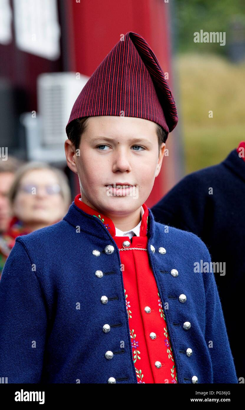 Torshavn, Faroe Islands, Denmark. 23rd Aug, 2018. Prince Christian of Denmark arrive with the The Royal Ship, HDMY Dannebrog at Bursatangi, on August 23, 2018, on the 1st of the 4 days visit to the Faroe Islands Photo : Albert Nieboer/ Netherlands OUT/Point de Vue OUT | Credit: dpa/Alamy Live News - Stock Image