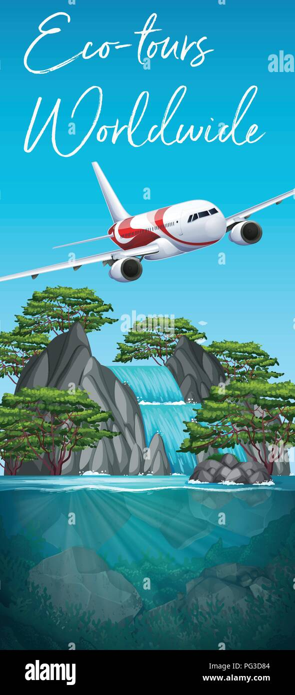 Eco tours worldwide plane scene illustration - Stock Vector