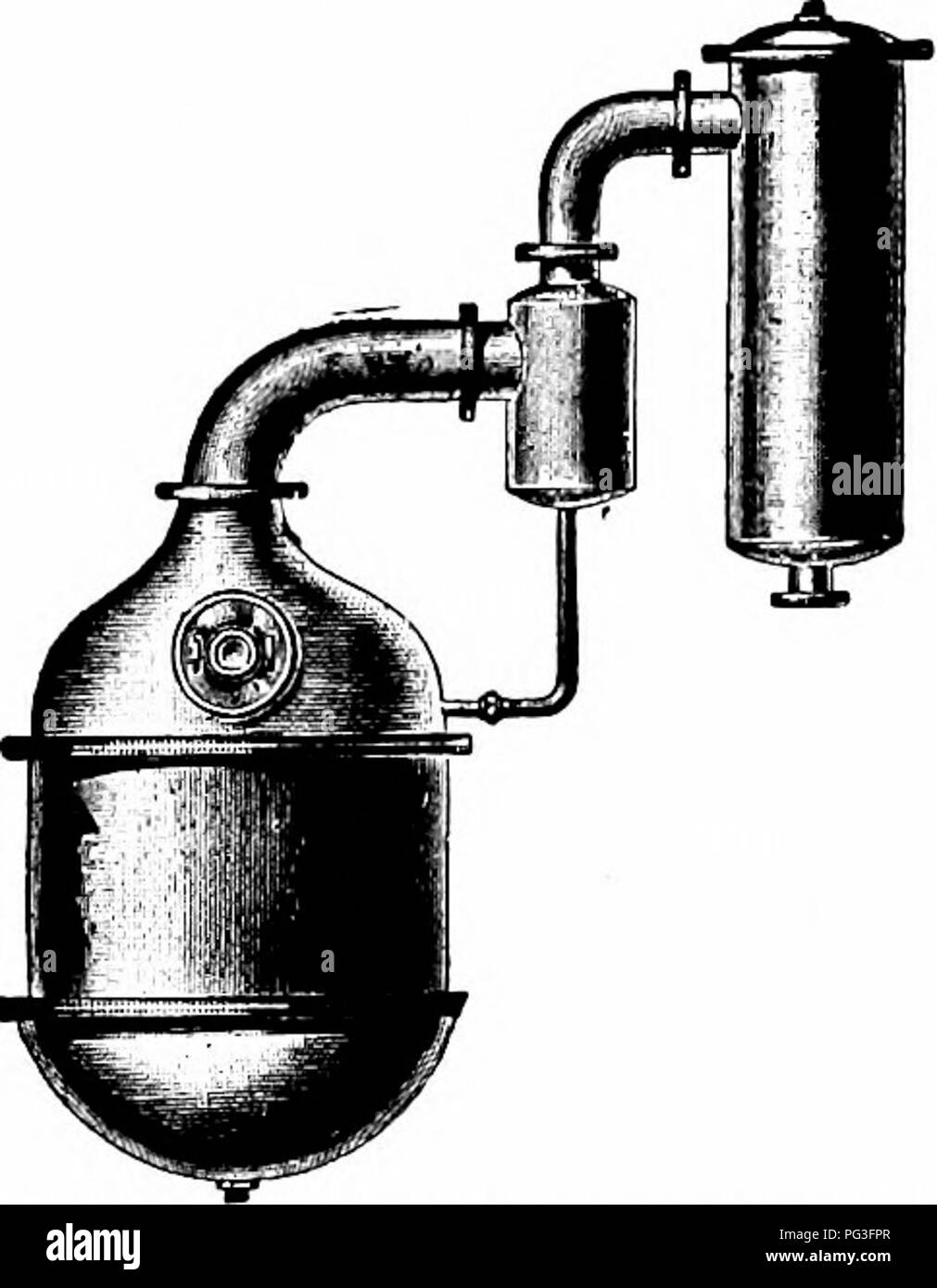 . Condensed milk and milk powder, prepared for the use of milk condenseries, dairy students and pure food departments. Condensed milk. 74 SwEF/ritNKD Condensed Milk—Condensing. Fig. 23. Vacuum pan with mill< trap Courtesy of Arthur Harris & Co If the pipe through which the milk enters the pan is turned down and its end is carried to near the bottom of the pan, so as to avoid the formation of excessive milk spray, if the pan is operated carefully and if the milk is kept at a reasonably low level, there is very little danger of milk being carried over into the condenser in quantities suff - Stock Image