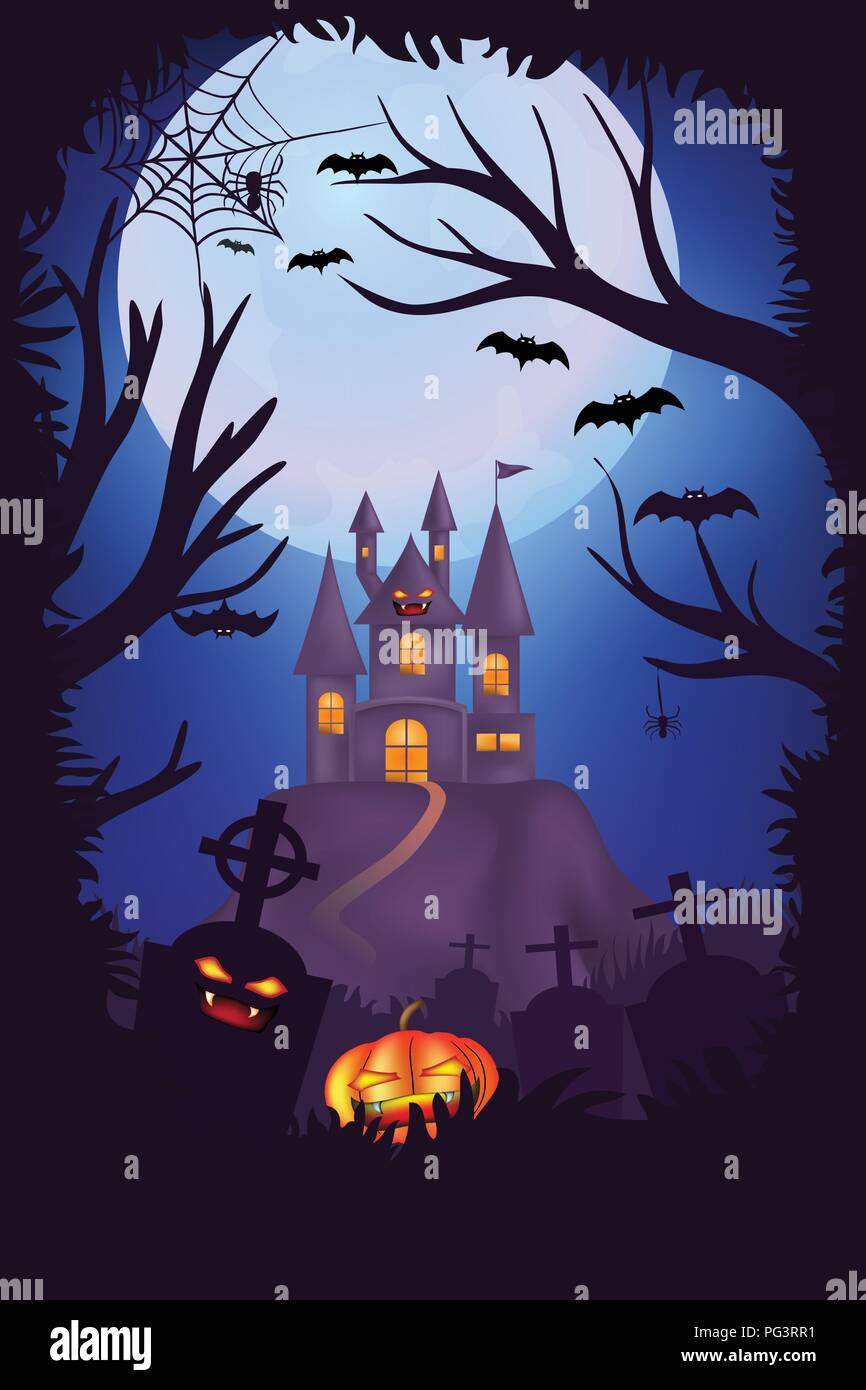 Happy Halloween night poster design, Creepy cemetery, graveyards with pumpkins, Scary castle and full moon background with tree frame, Halloween night - Stock Vector