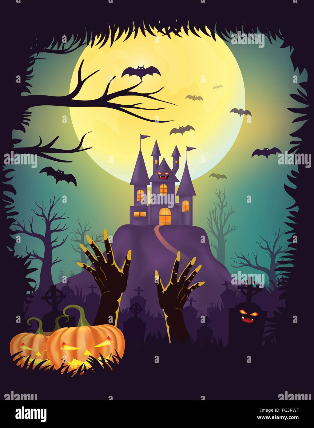 Happy Halloween night party poster design, Zombie hand rising out of the grave in cemetery, graveyards with pumpkins, Creepy castle, Full moon backgro - Stock Vector