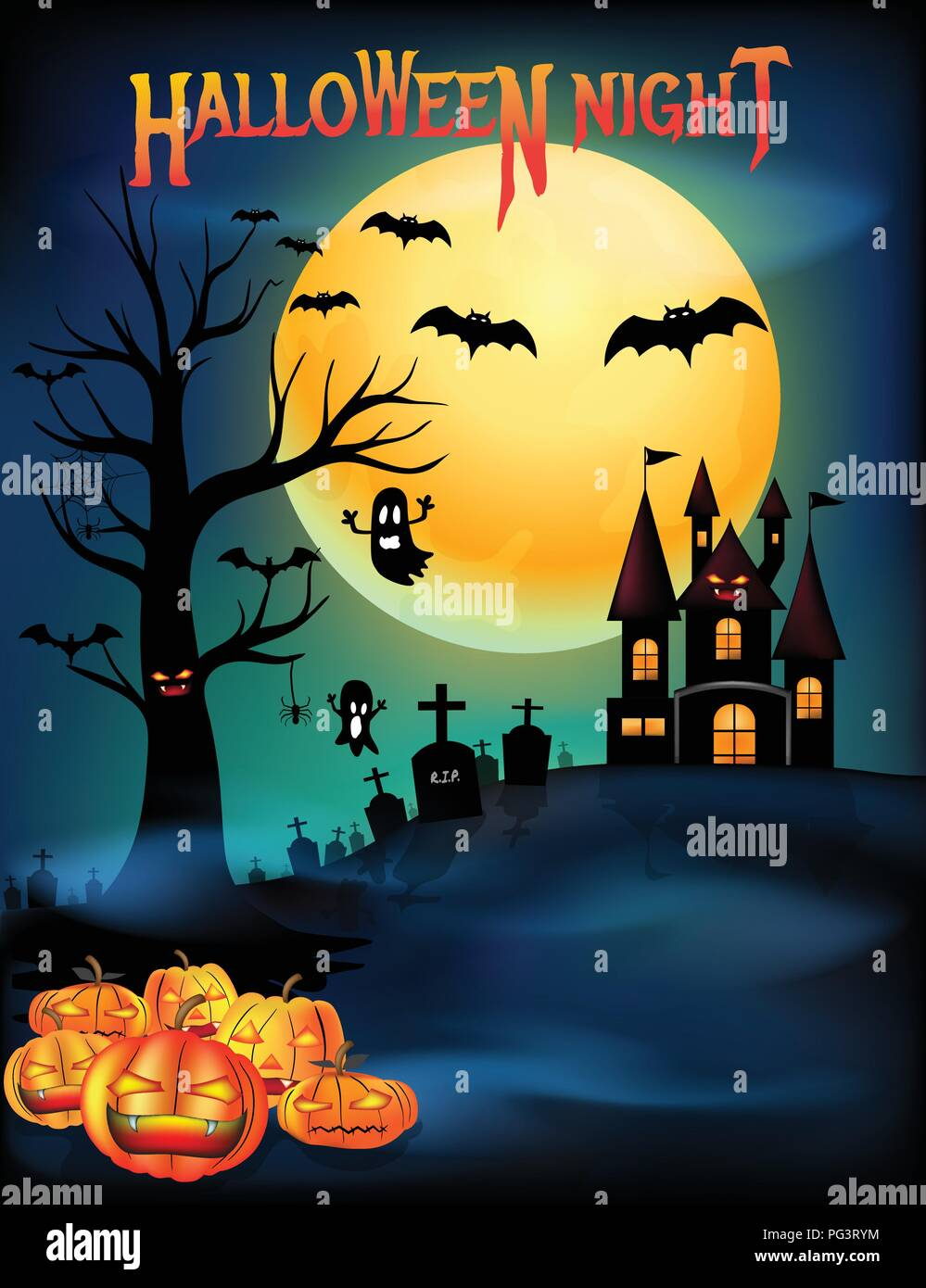 Halloween pumpkins and creepy castle, death tree with cemetery graveyard and bats with full moon background, Halloween Night party poster brochure wit - Stock Vector